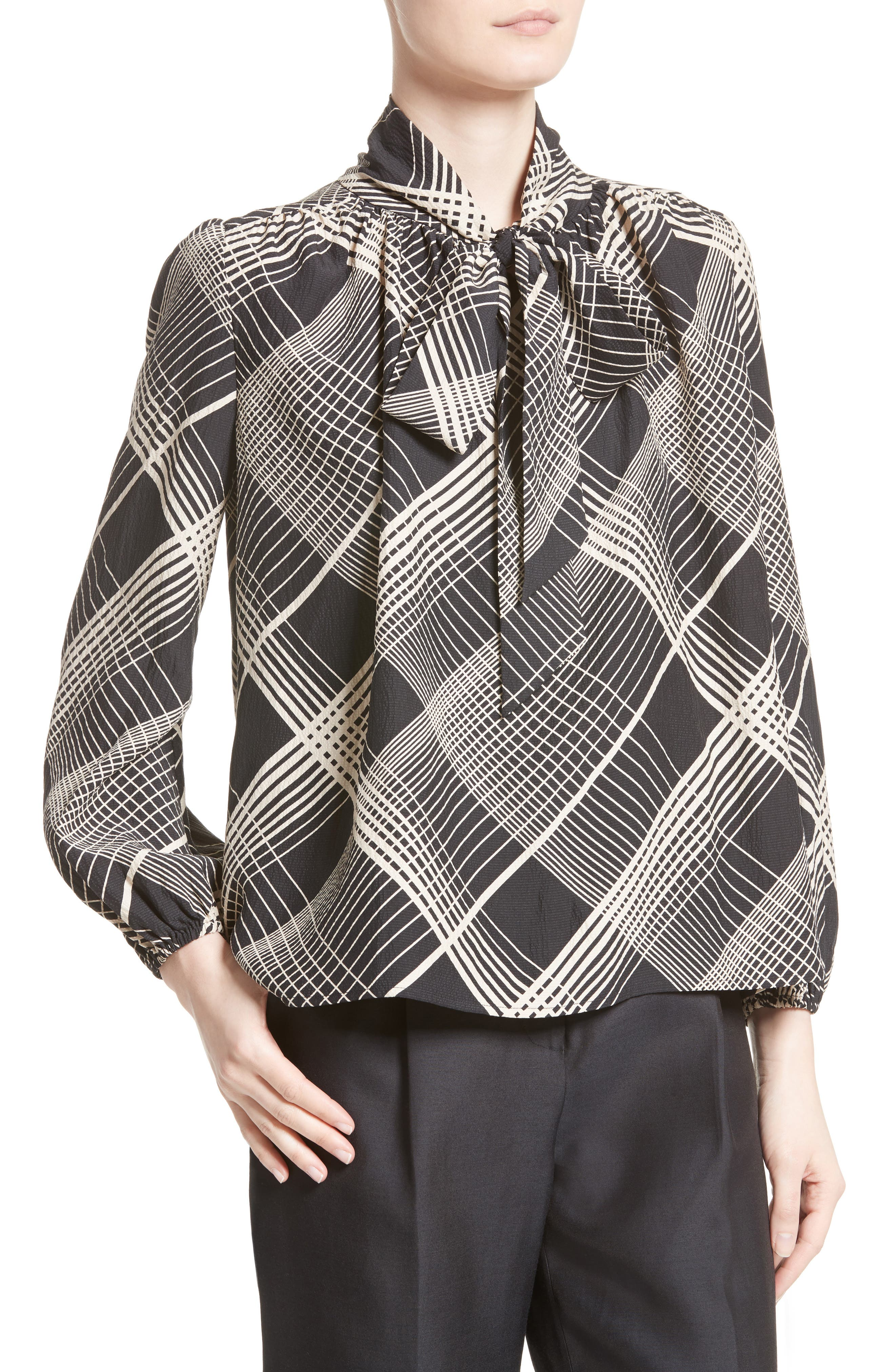 Plaid Silk Tie Neck Blouse,                             Alternate thumbnail 6, color,                             Black/ White Plaid