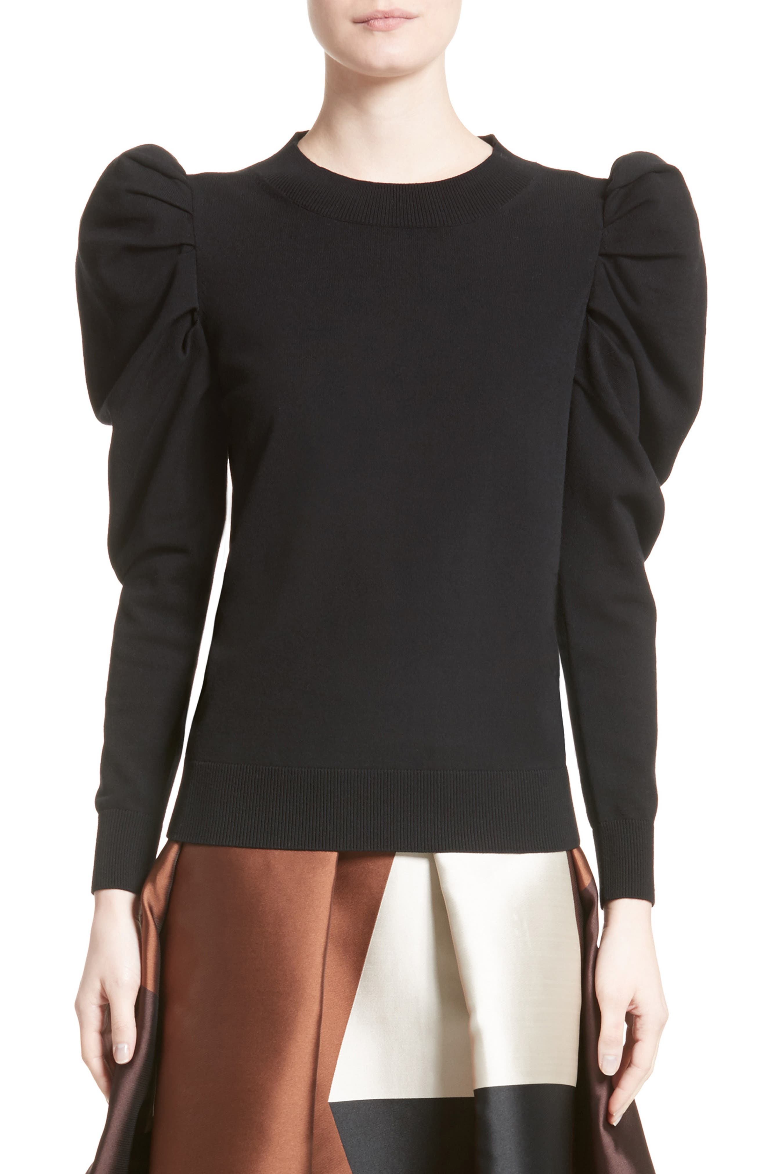 Felted Knit Puff Sleeve Sweater,                         Main,                         color, Black