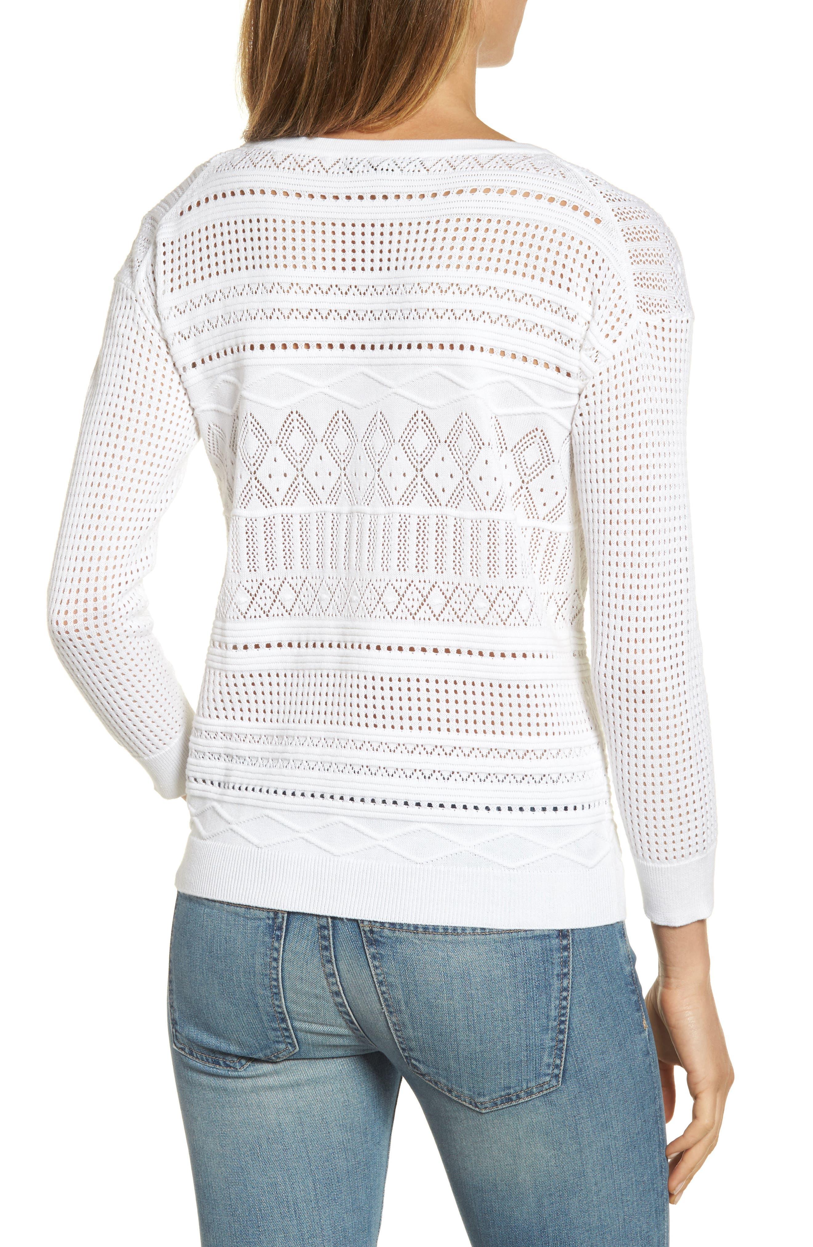 Pickford Pointelle Split Neck Sweater,                             Alternate thumbnail 2, color,                             White