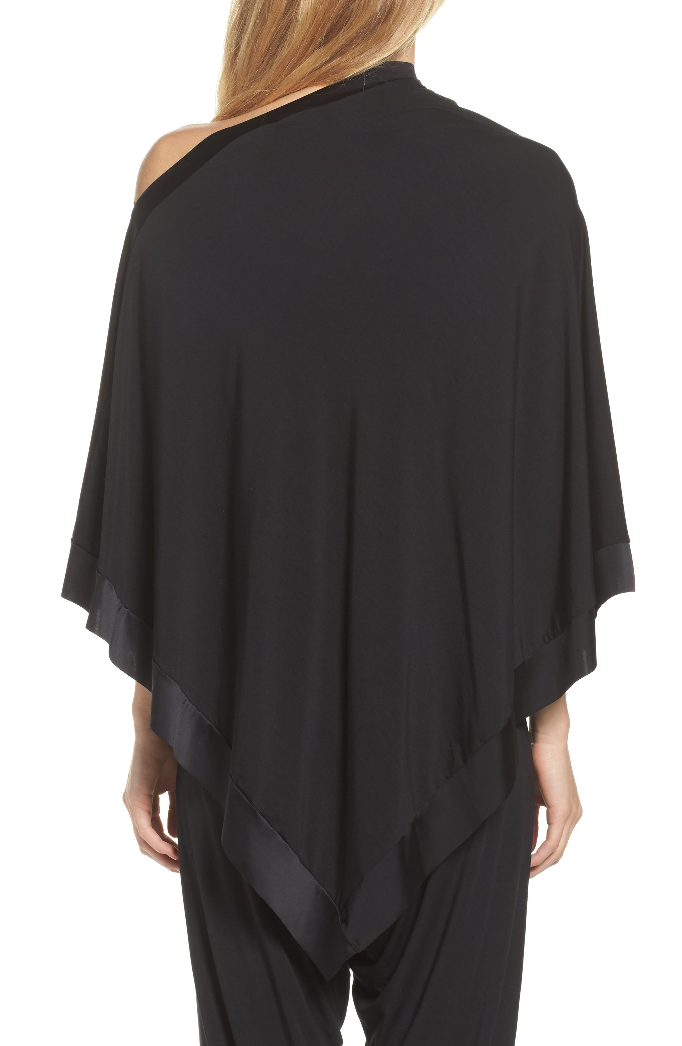 Butter & Satin Asymmetrical Poncho,                             Alternate thumbnail 2, color,                             Midnight