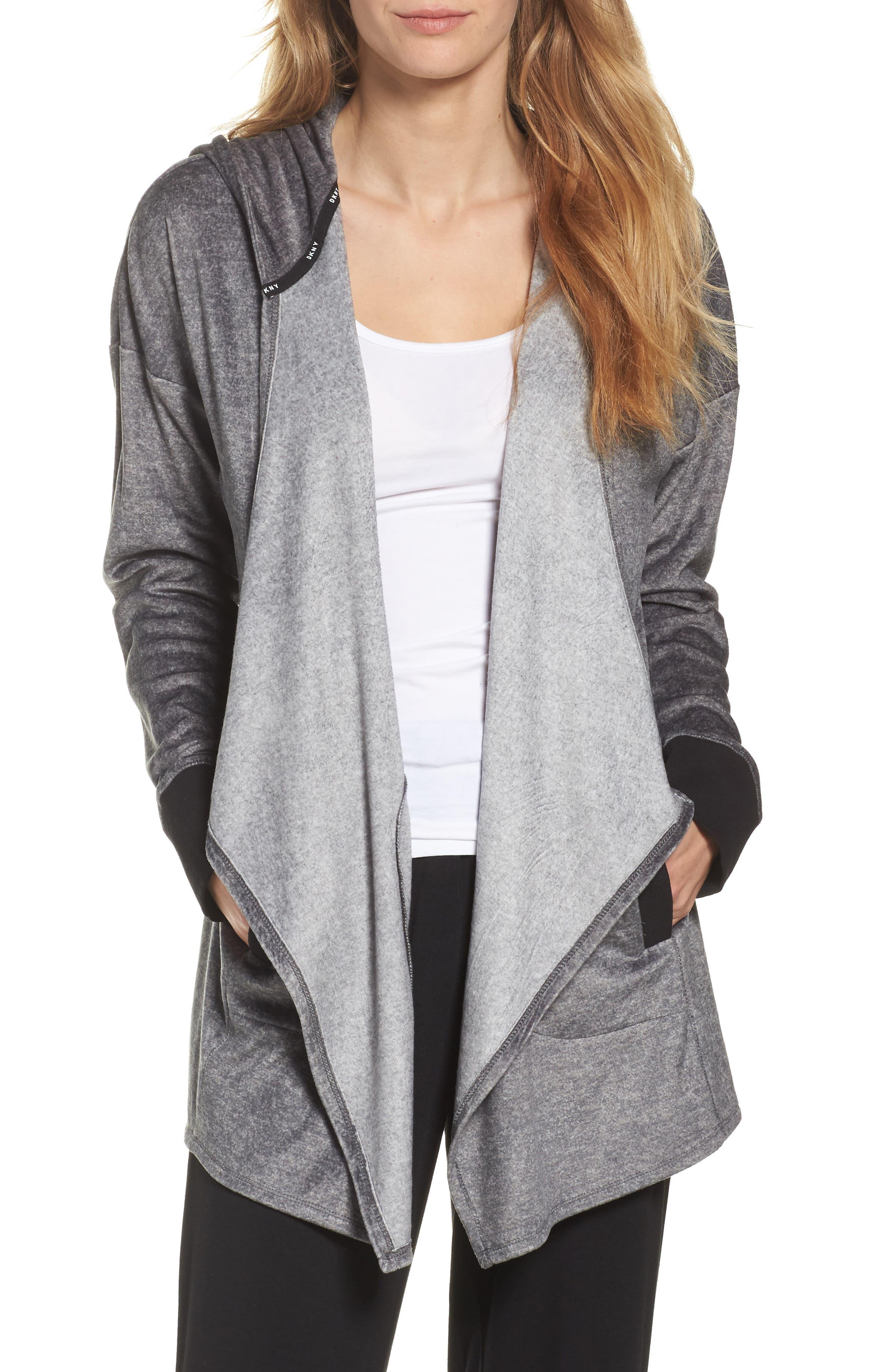 Drape Front Sweatshirt,                         Main,                         color, Grey Heather Print