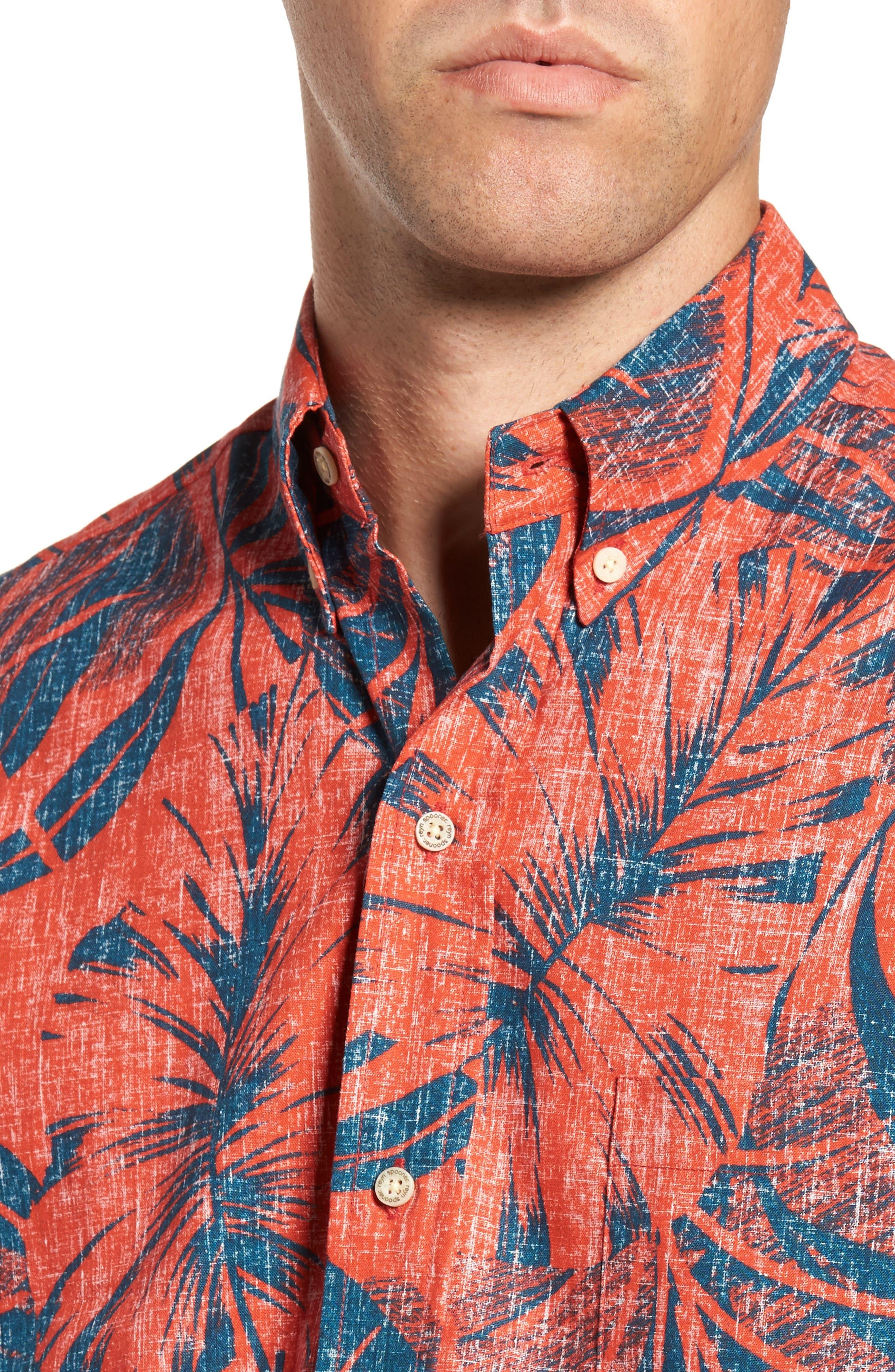 Kaha Lau Classic Fit Sport Shirt,                             Alternate thumbnail 4, color,                             Coral