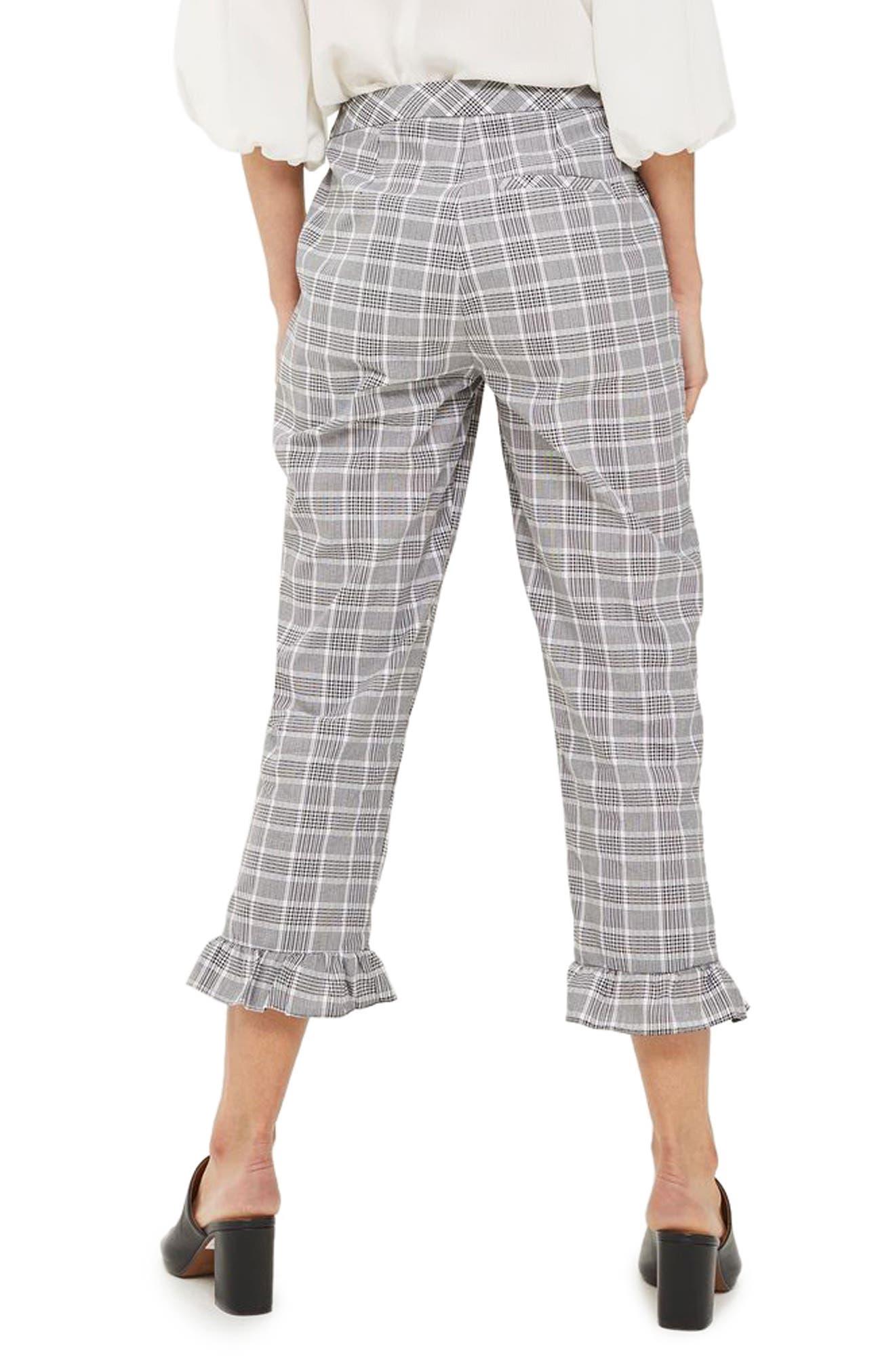 Alternate Image 2  - Topshop Slim Fit Check Ruffle Capri Pants