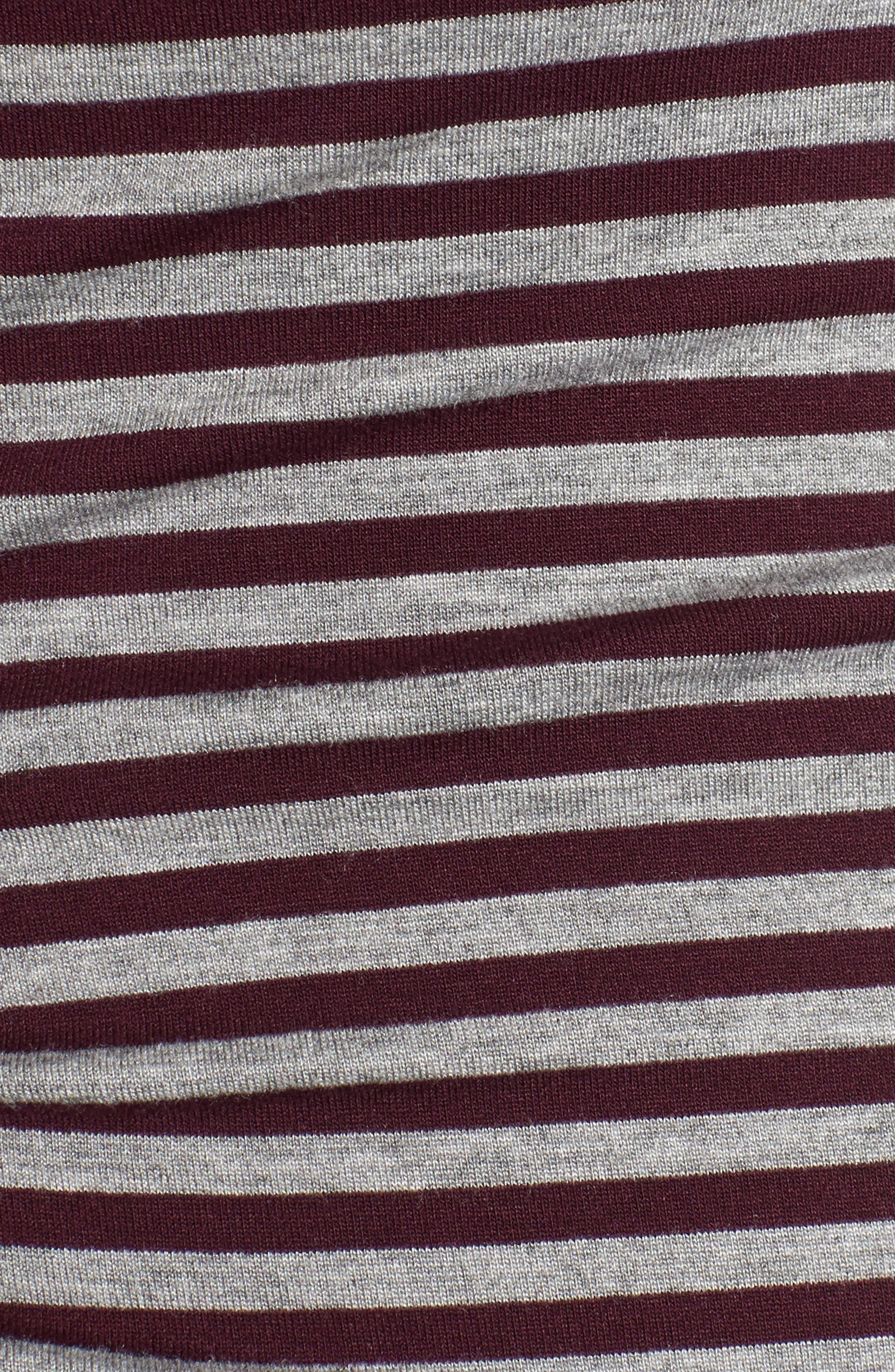 Arlington Stripe Maternity Tee,                             Alternate thumbnail 5, color,                             Heather Grey