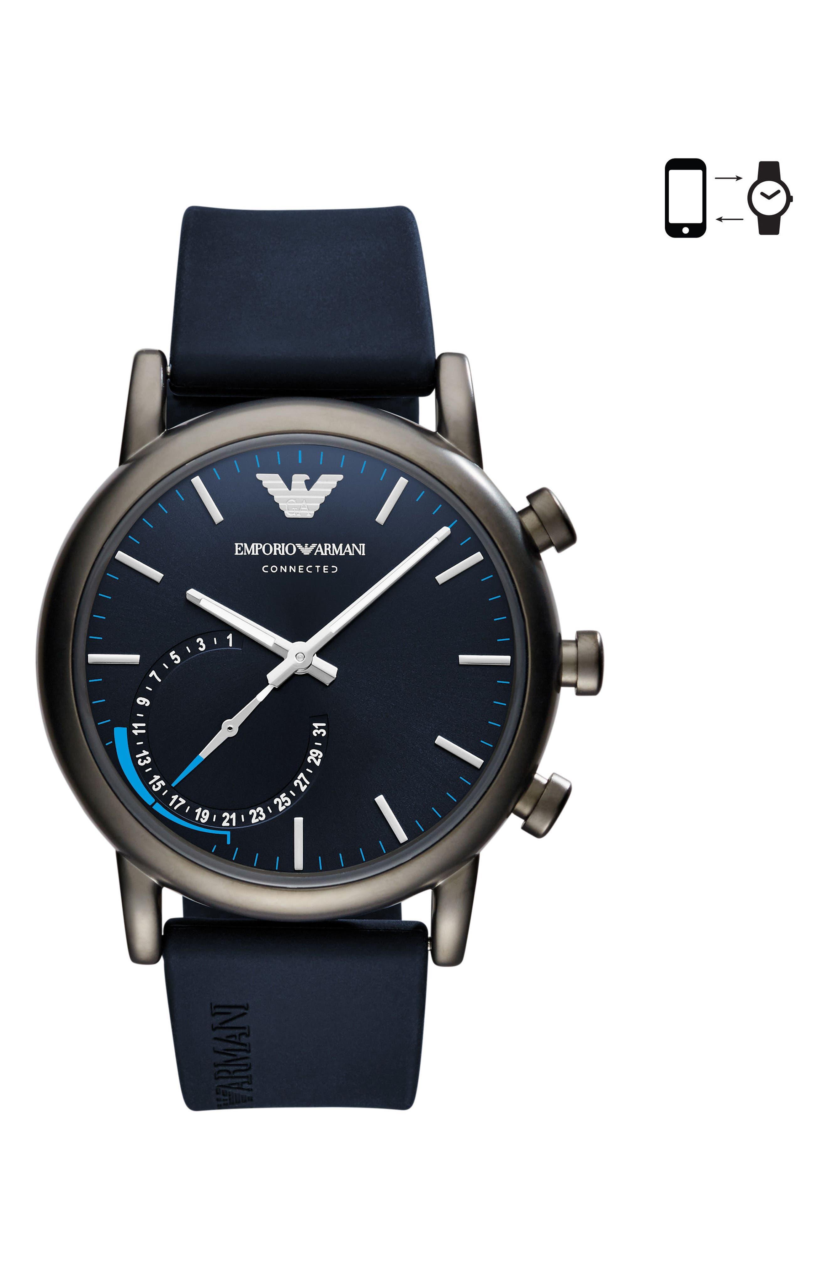 Silicone Strap Hybrid Smartwatch, 43mm,                         Main,                         color, Blue/ Blue