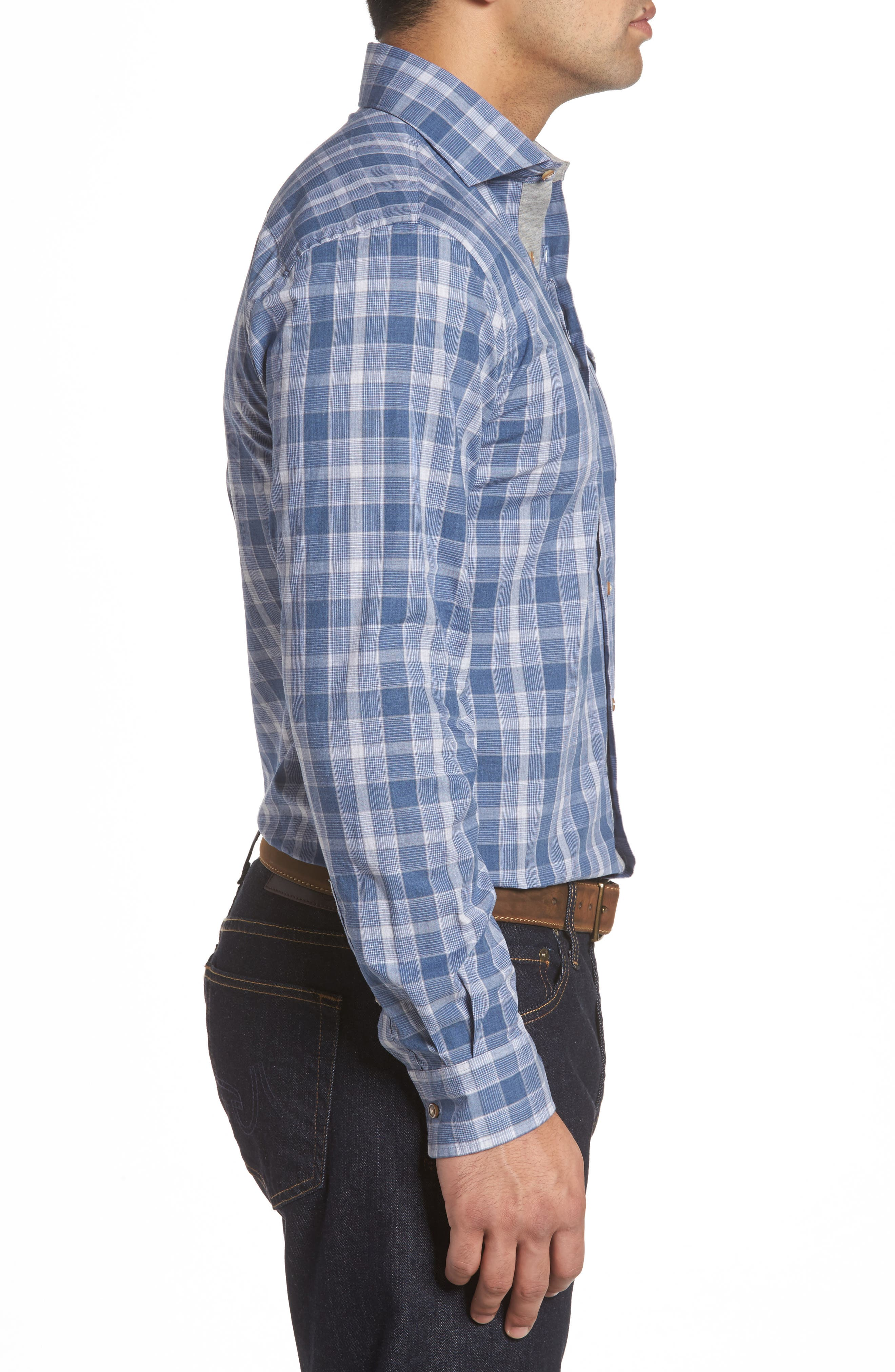 Highlands Classic Fit Plaid Sport Shirt,                             Alternate thumbnail 3, color,                             Abyss