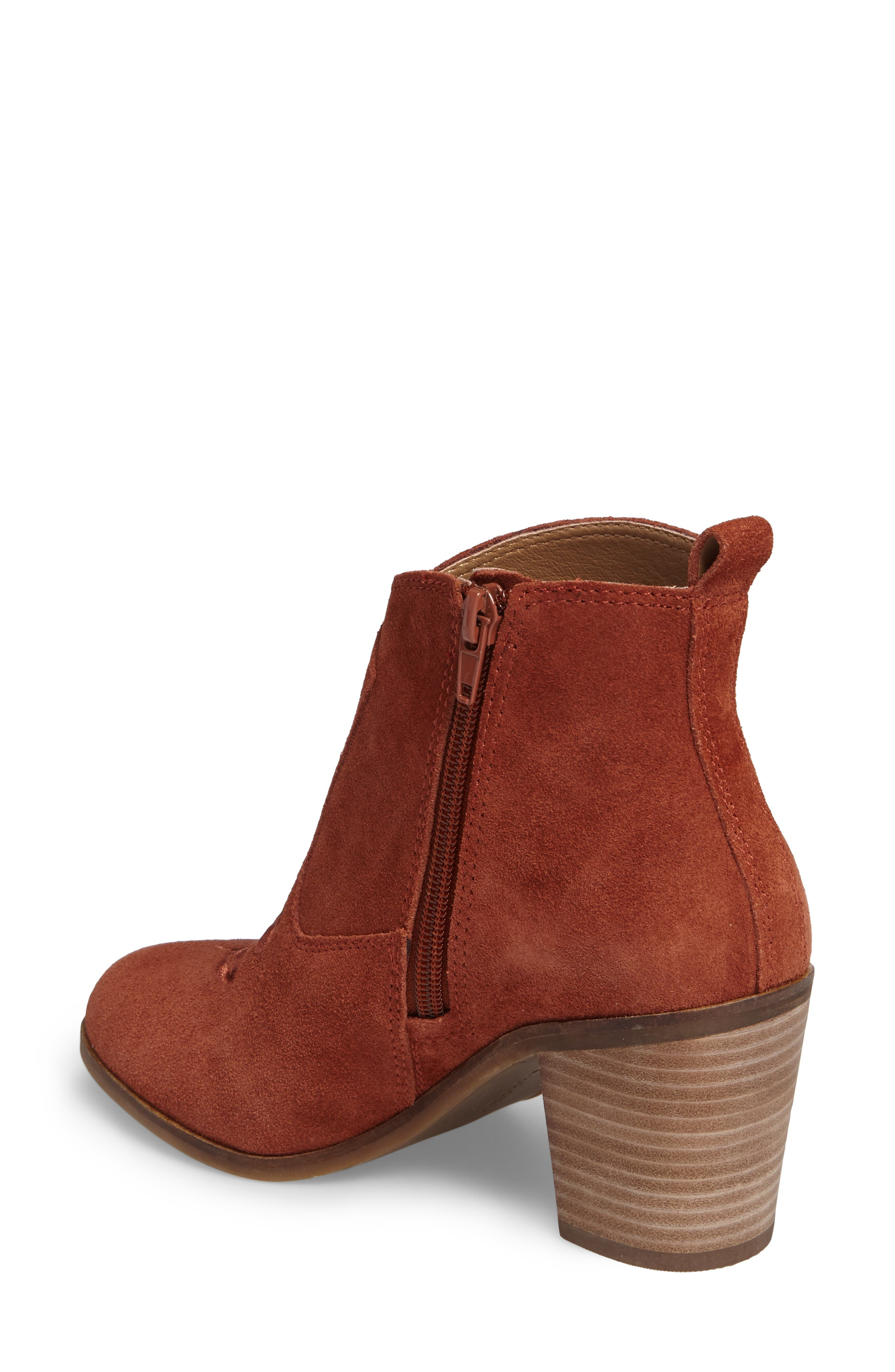 Pexton Embroidered Bootie,                             Alternate thumbnail 2, color,                             Red Oak Suede