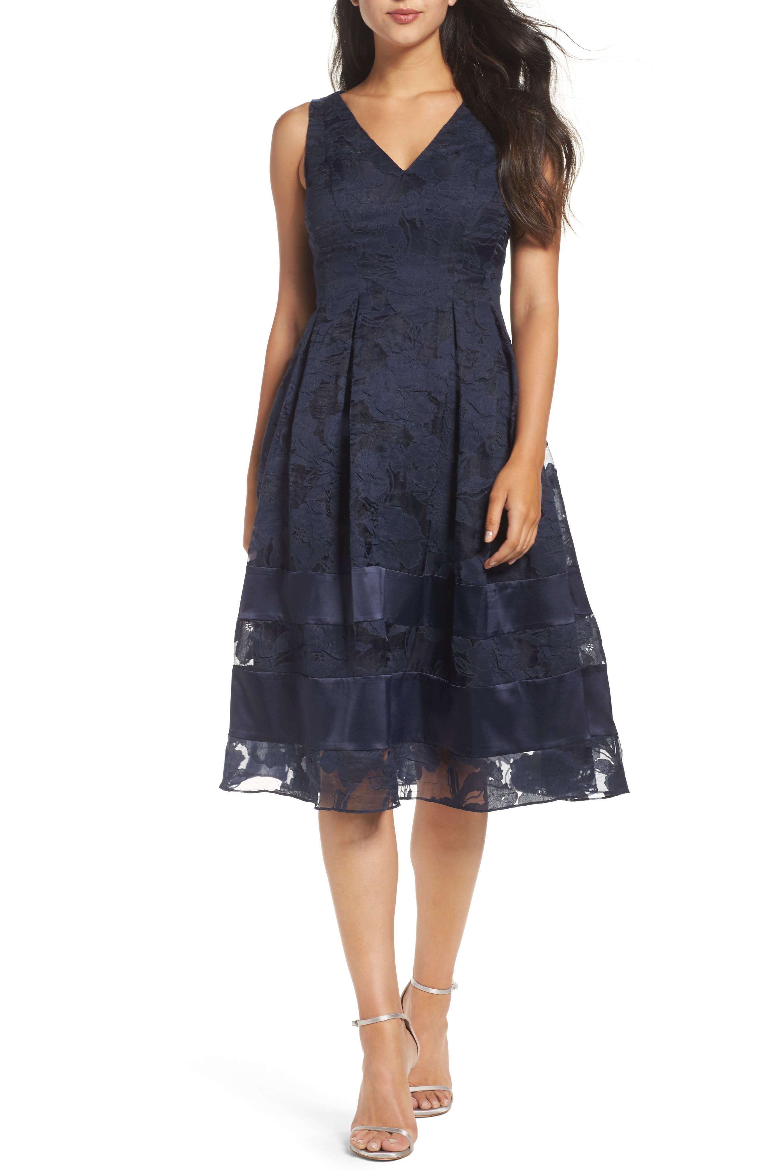 Lace Fit & Flare Dress,                             Main thumbnail 1, color,                             Navy/ Black