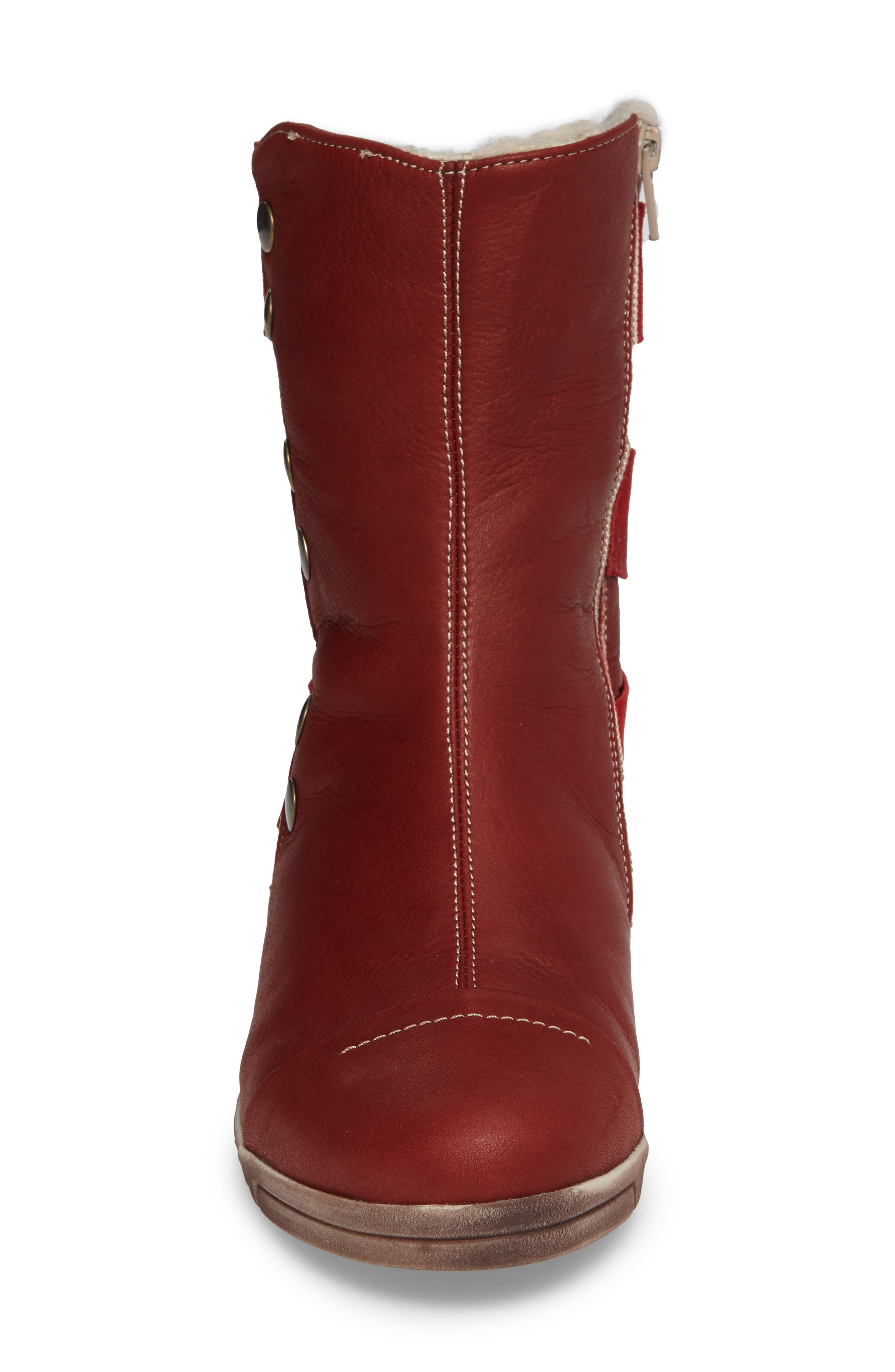 Amber Wool Lined Bootie,                             Alternate thumbnail 4, color,                             Red Leather