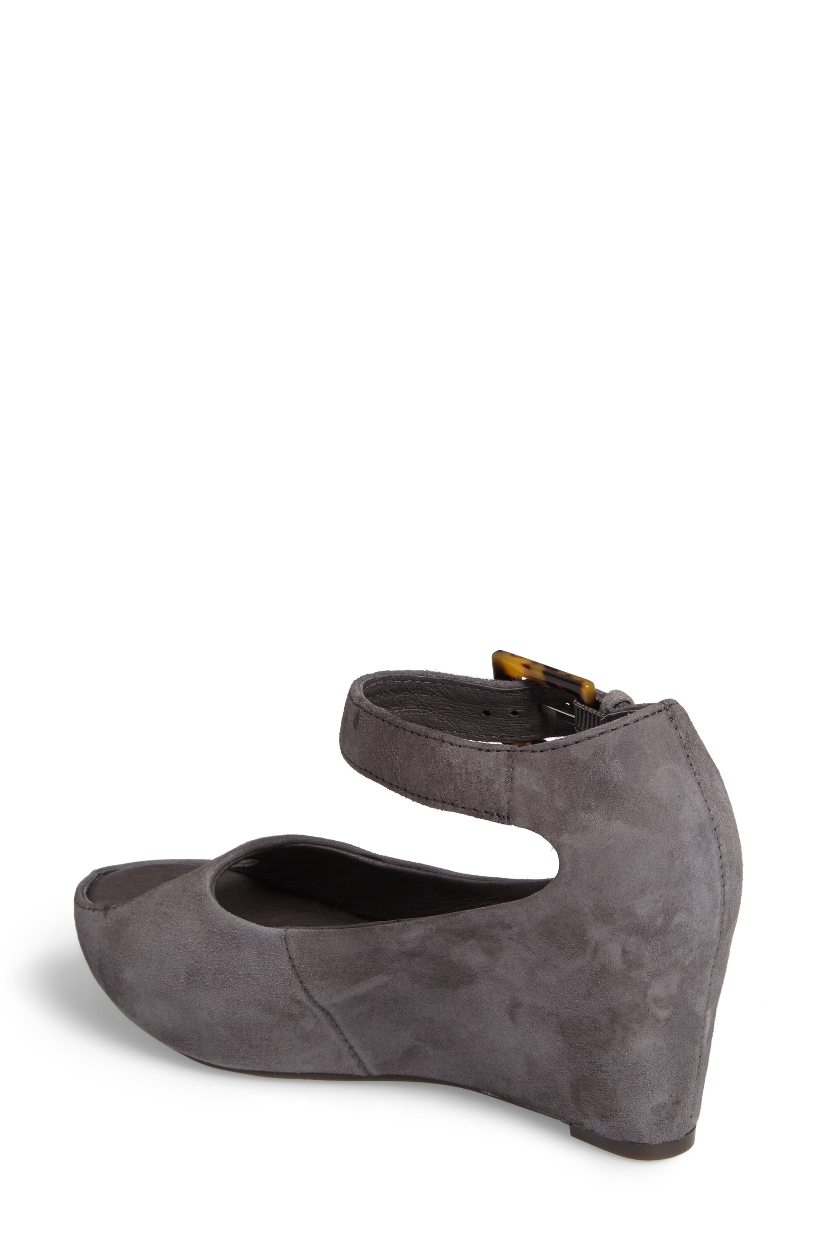 'Tricia' Ankle Strap Sandal,                             Alternate thumbnail 2, color,                             Gray Suede