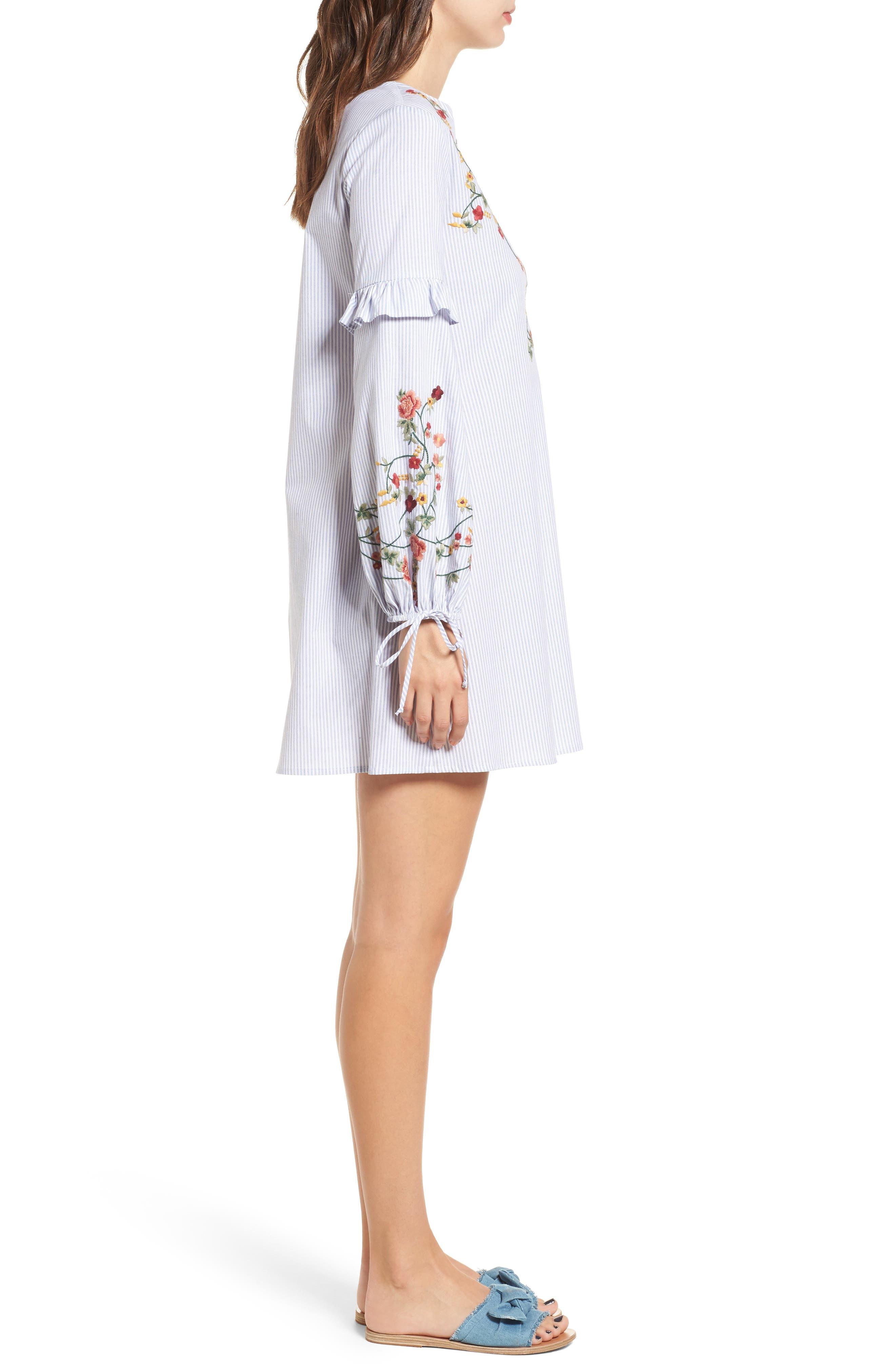 Embroidered Poplin Dress,                             Alternate thumbnail 4, color,                             White/ Blue
