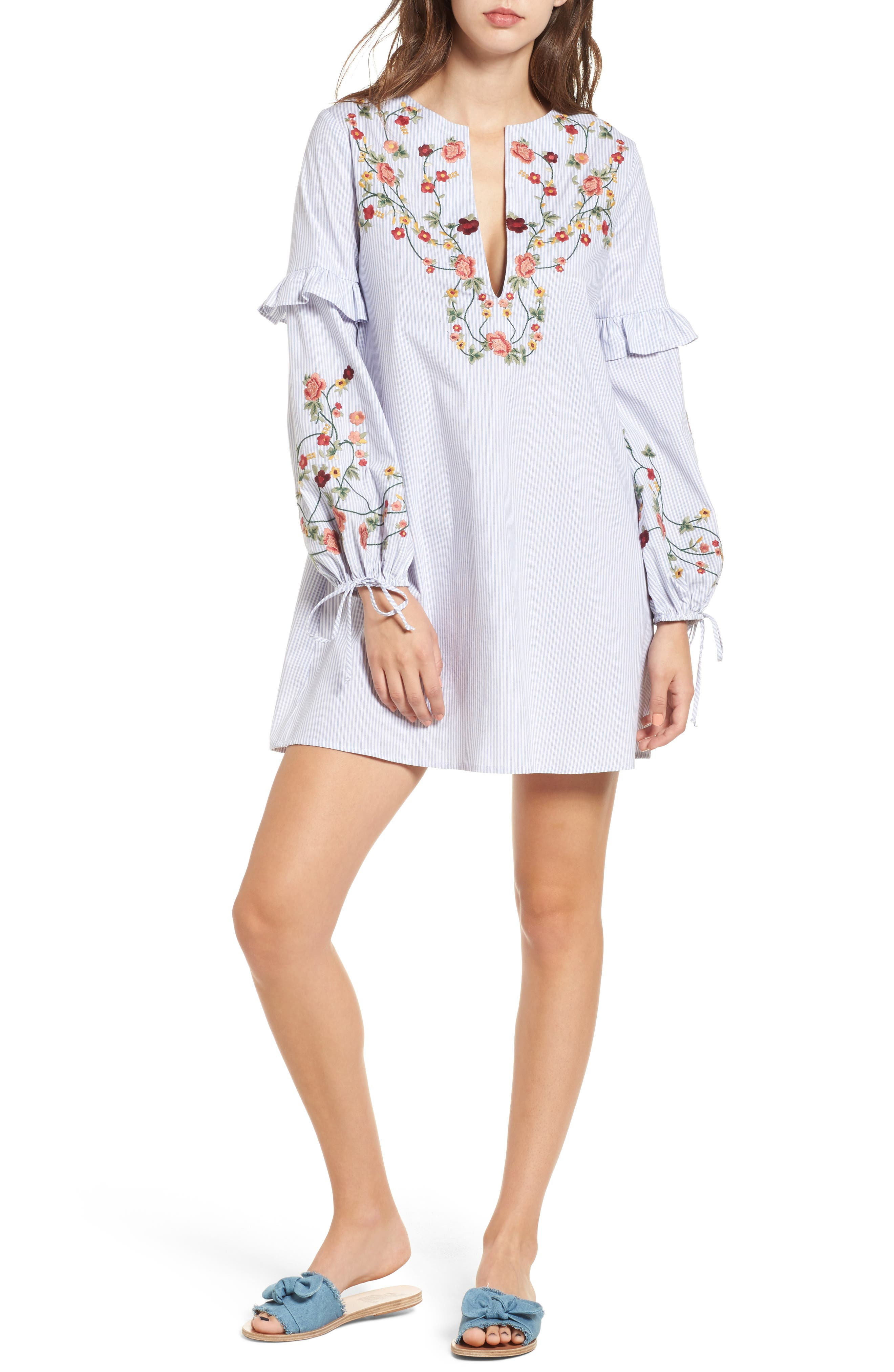 Embroidered Poplin Dress,                         Main,                         color, White/ Blue
