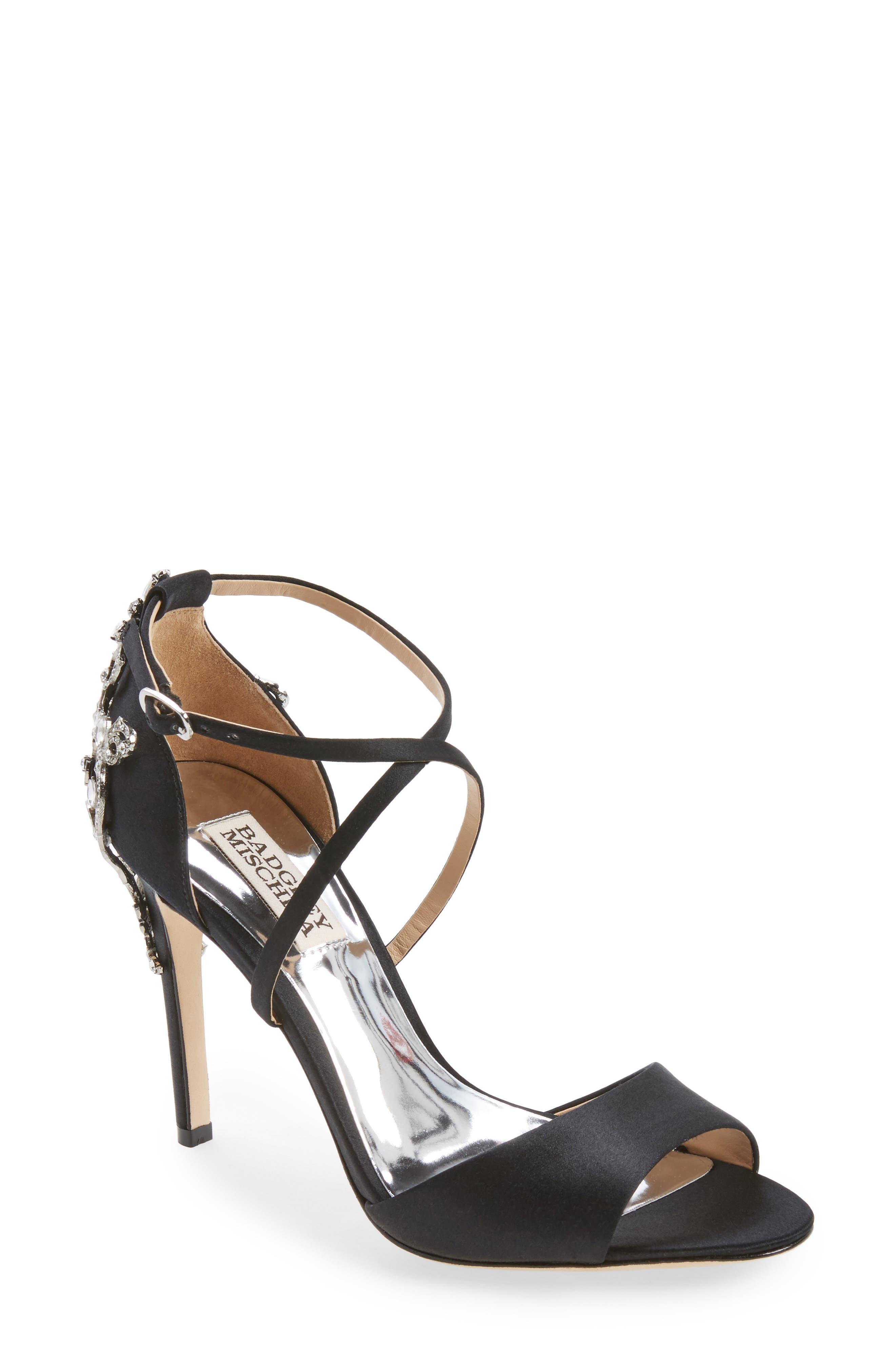 Karmen Crystal Back Sandal,                         Main,                         color, Black Satin