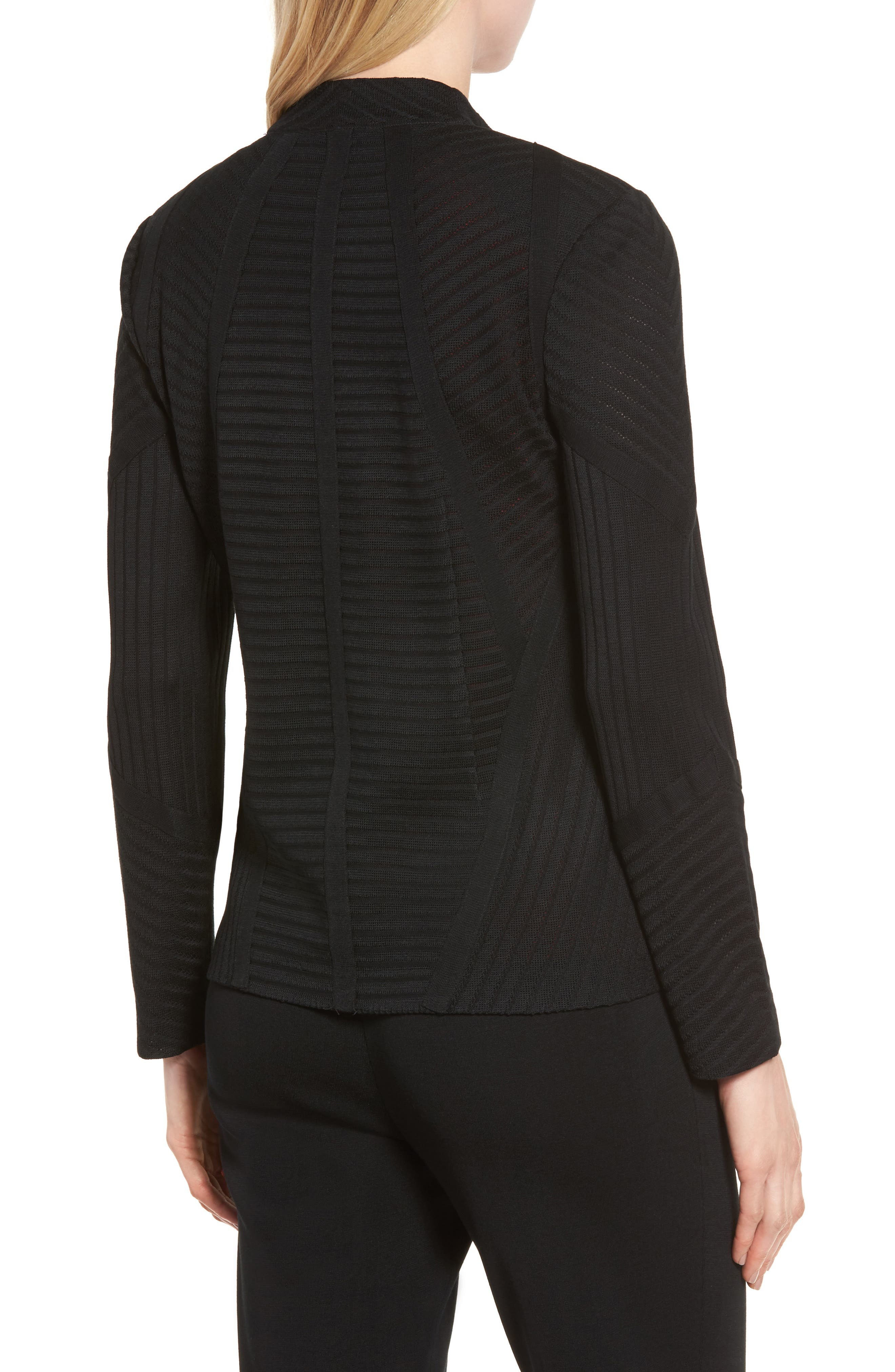 Striped Knit Jacket,                             Alternate thumbnail 2, color,                             Black