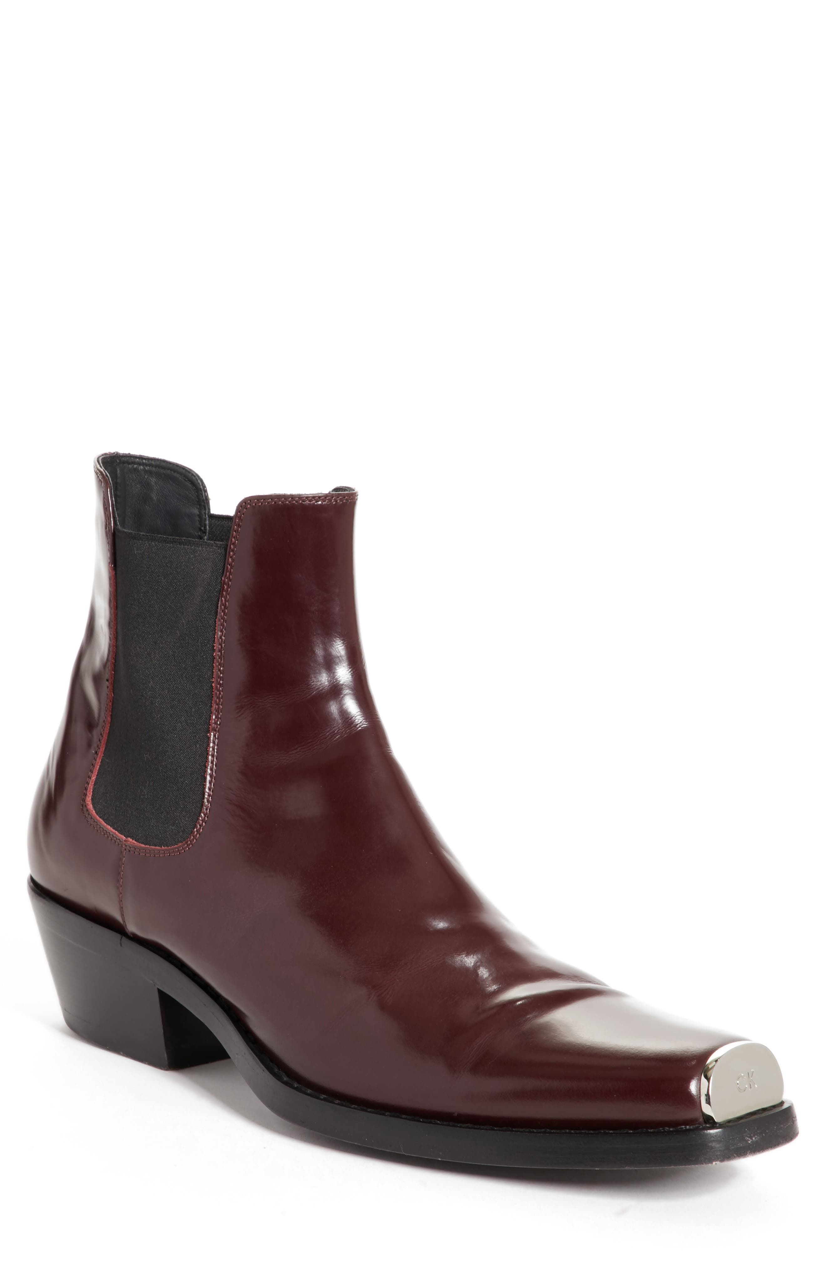 Chris Western Metal Tip Boot,                         Main,                         color, Bordeaux Leather