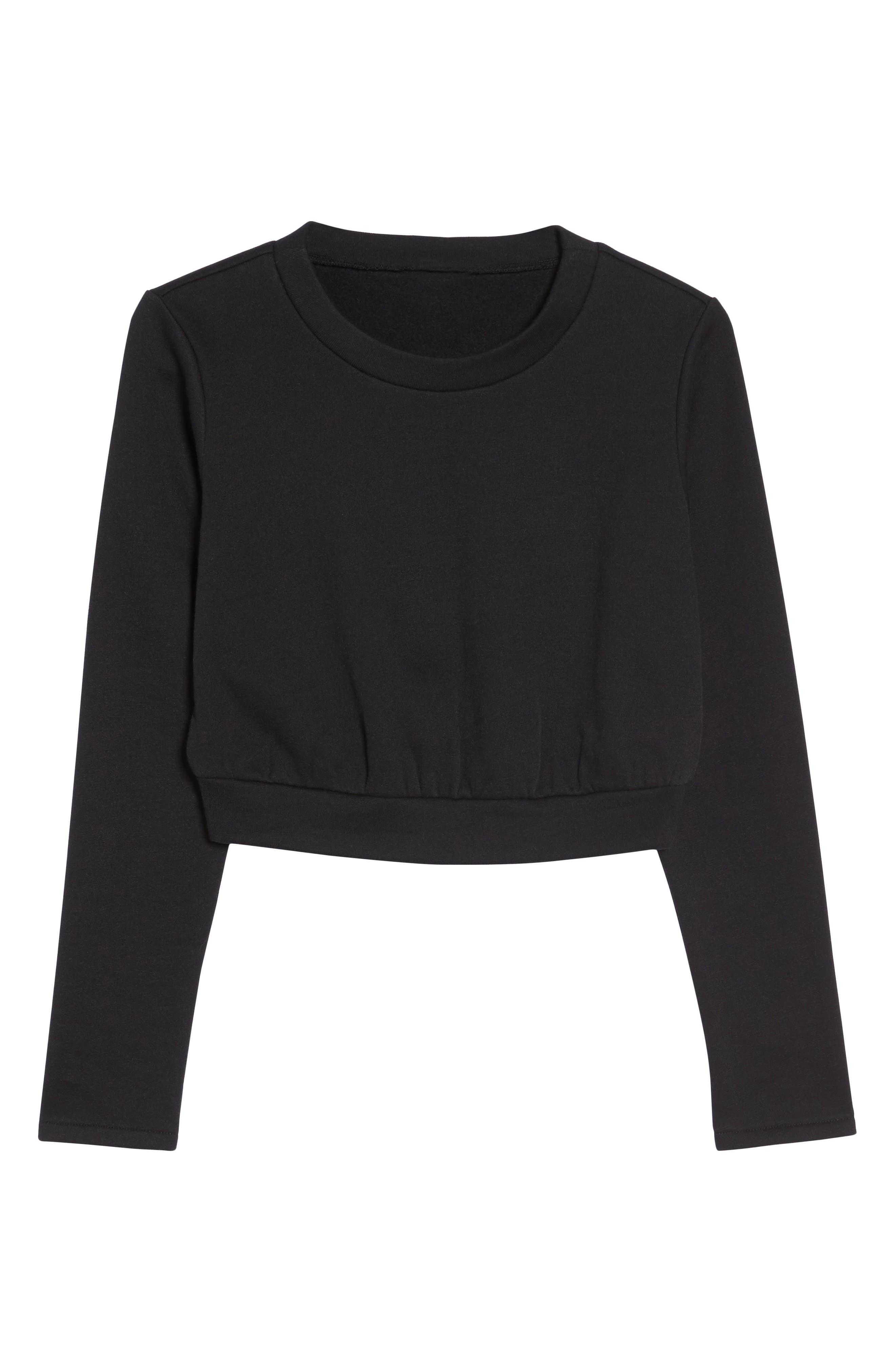 Soleil Funnel Neck Crop Pullover,                             Alternate thumbnail 7, color,                             Black