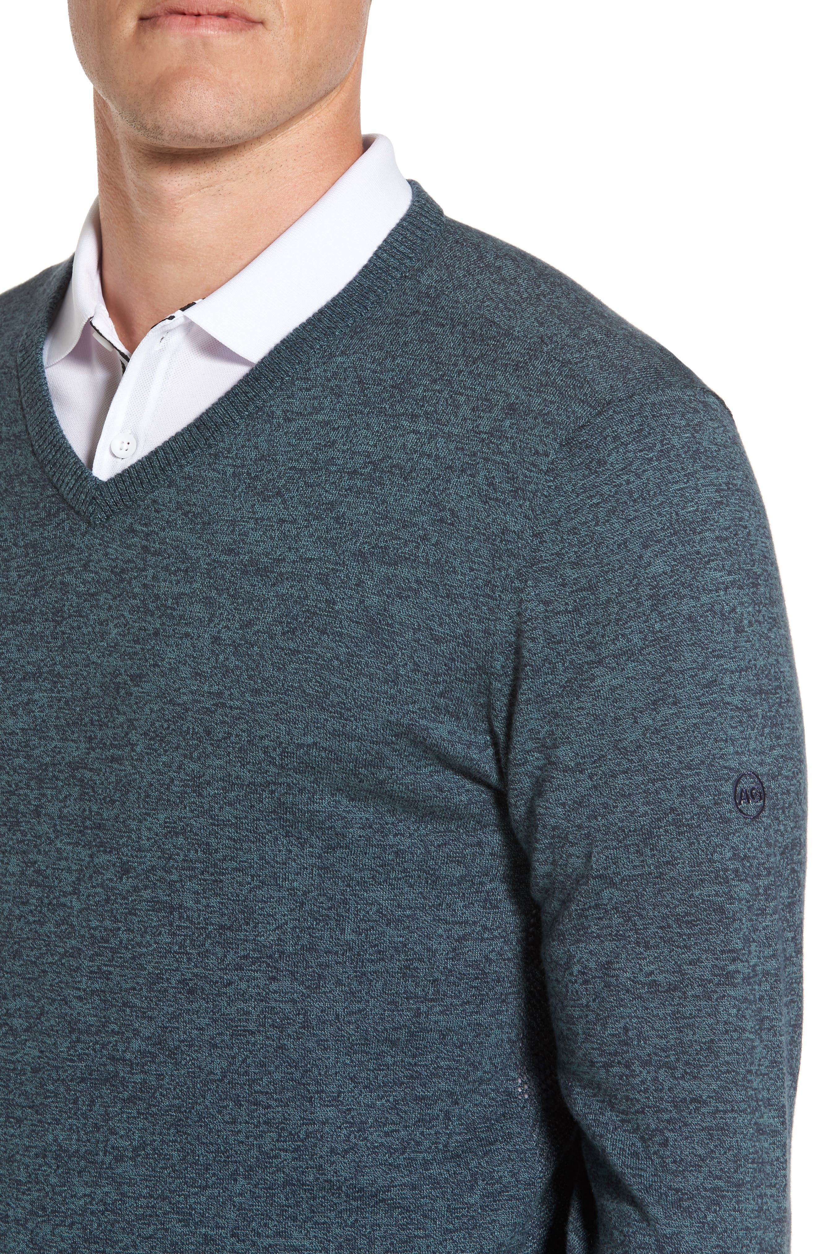 Ridgewood V-Neck Sweater,                             Alternate thumbnail 4, color,                             Turf/ Naval Blue Melange