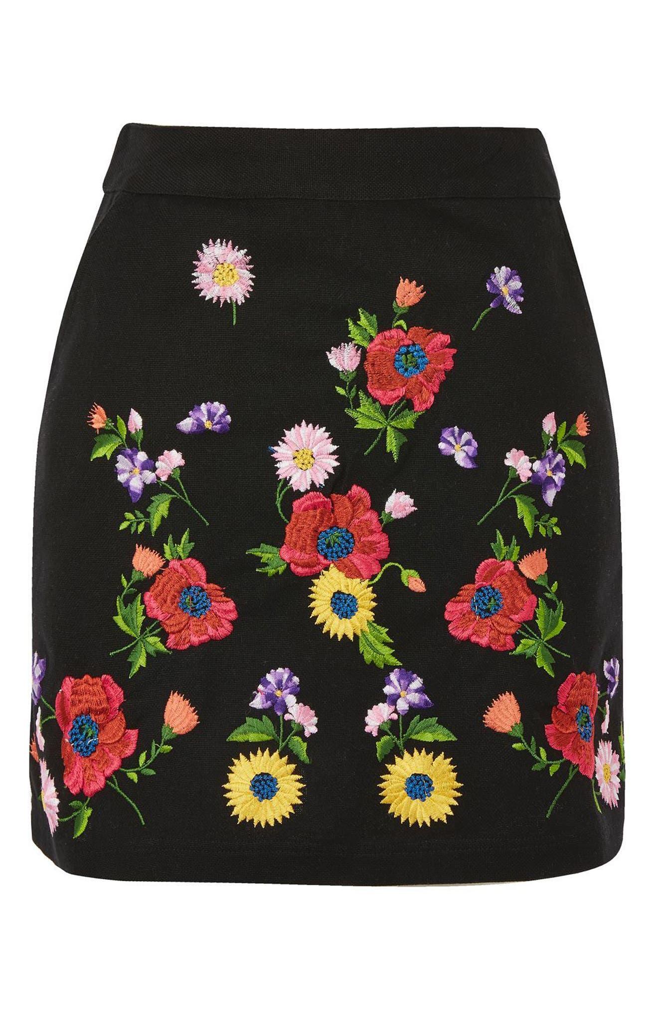 Garden Embroidered Miniskirt,                             Alternate thumbnail 3, color,                             Black Multi