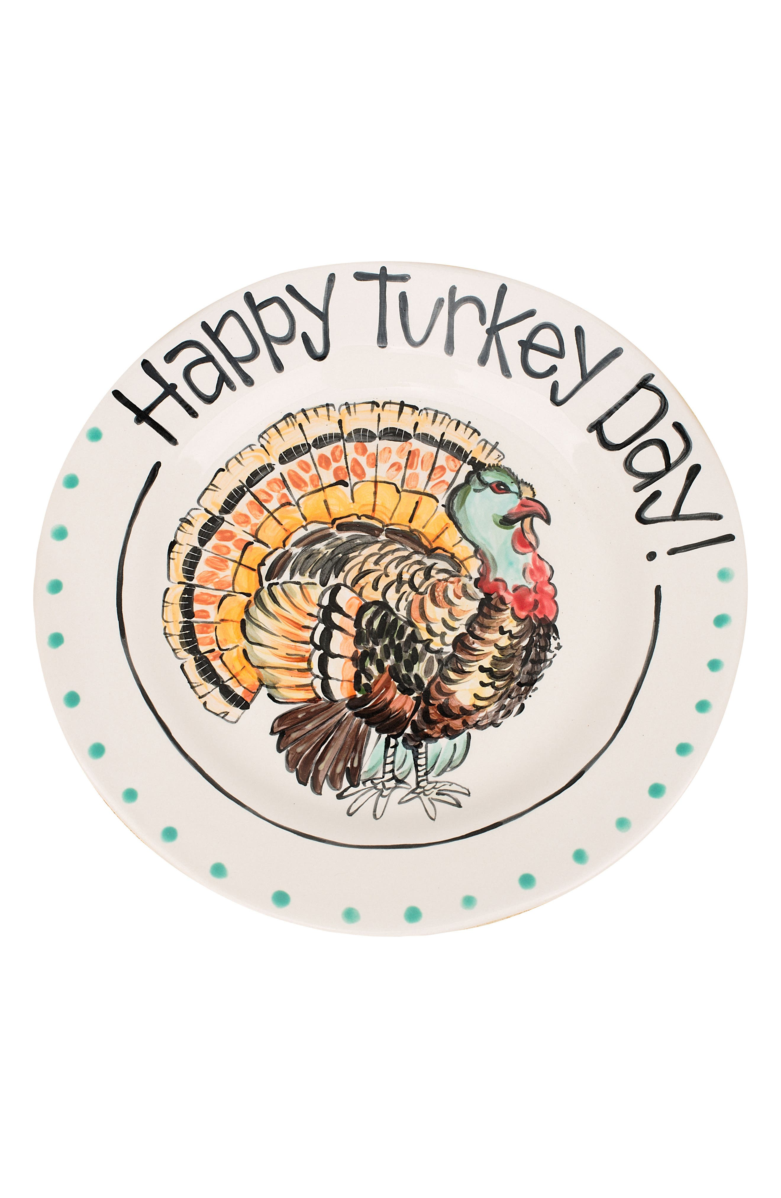 Happy Turkey Day Plate,                             Main thumbnail 1, color,                             Gold/ Multi