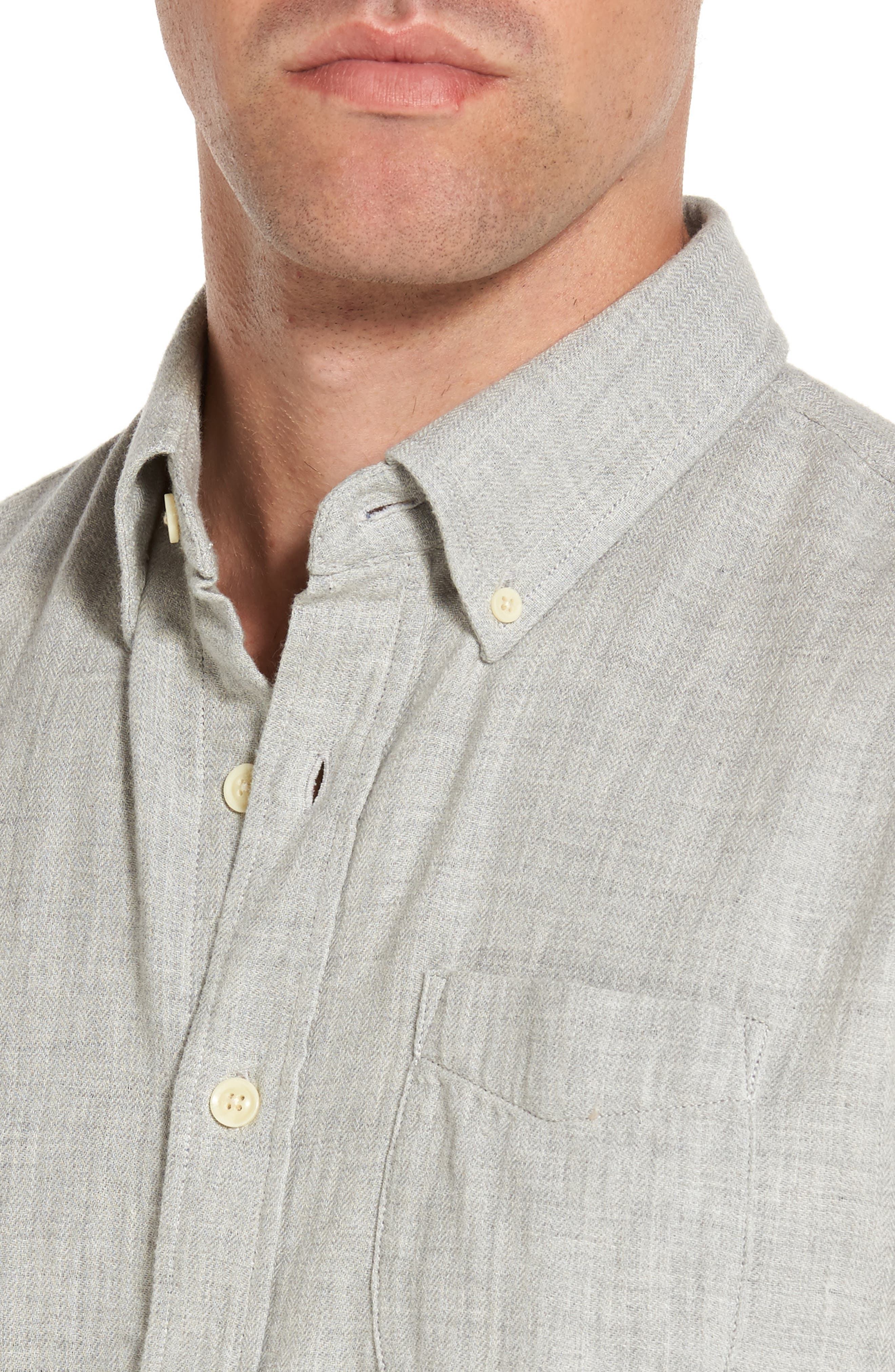 Alternate Image 4  - Grayers Chester Modern Fit Double Cloth Herringbone Sport Shirt
