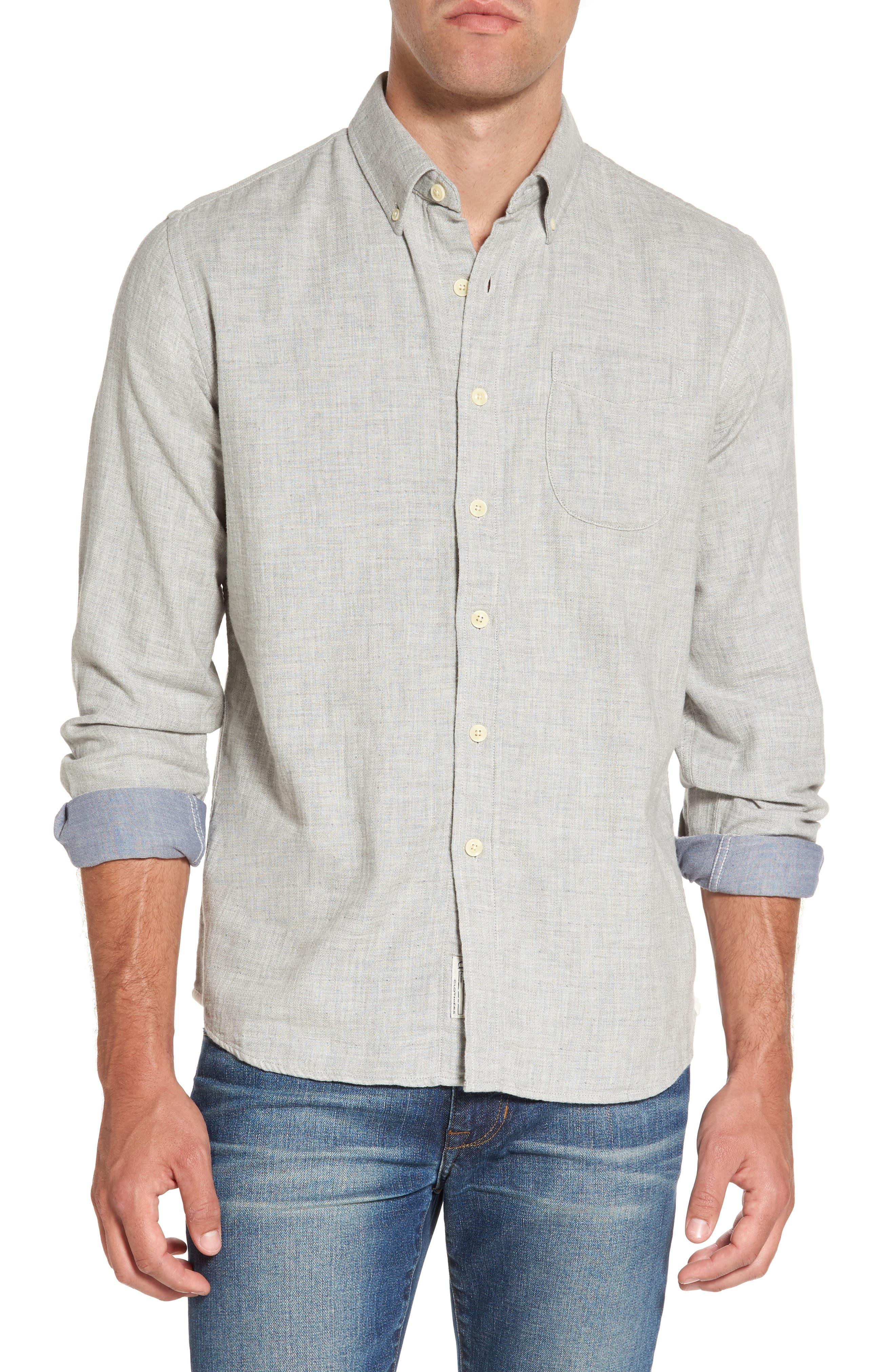 Alternate Image 1 Selected - Grayers Chester Modern Fit Double Cloth Herringbone Sport Shirt