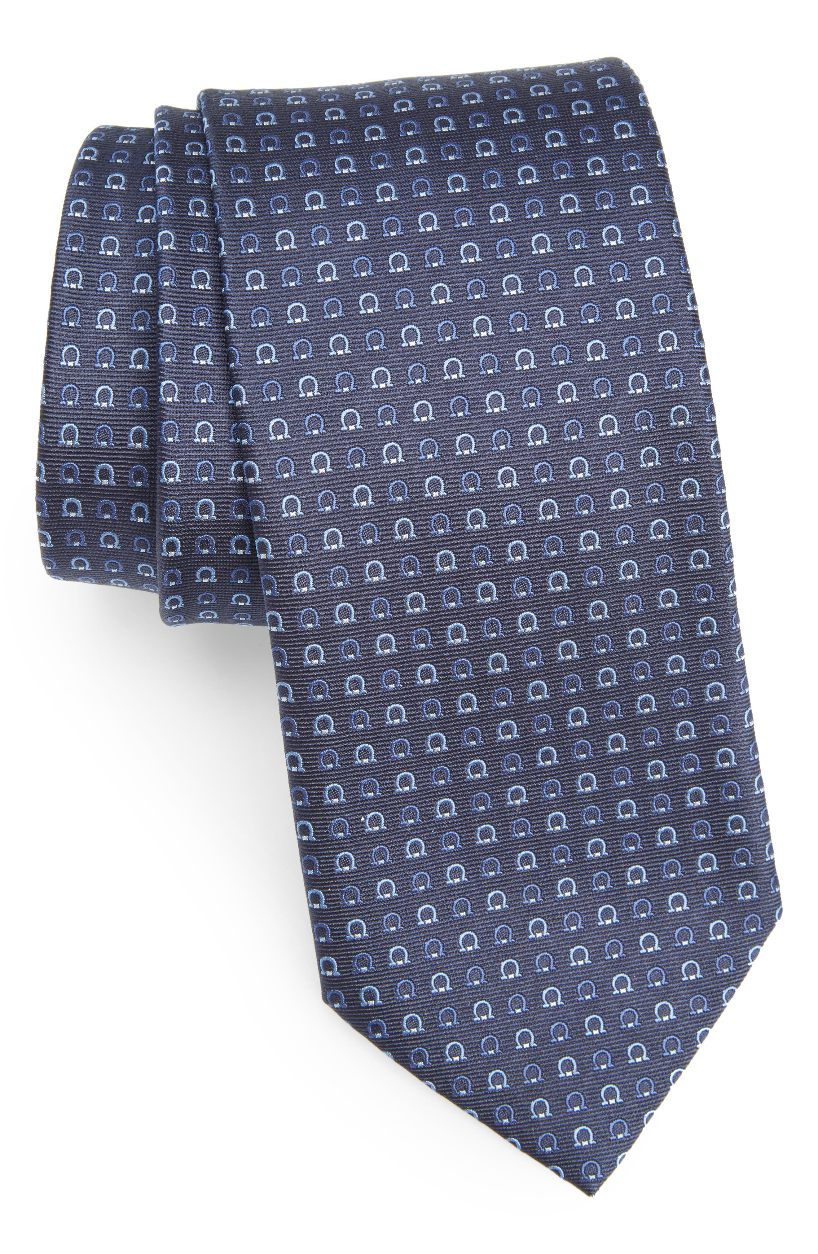 SALVATORE FERRAGAMO Geo Print Silk Tie
