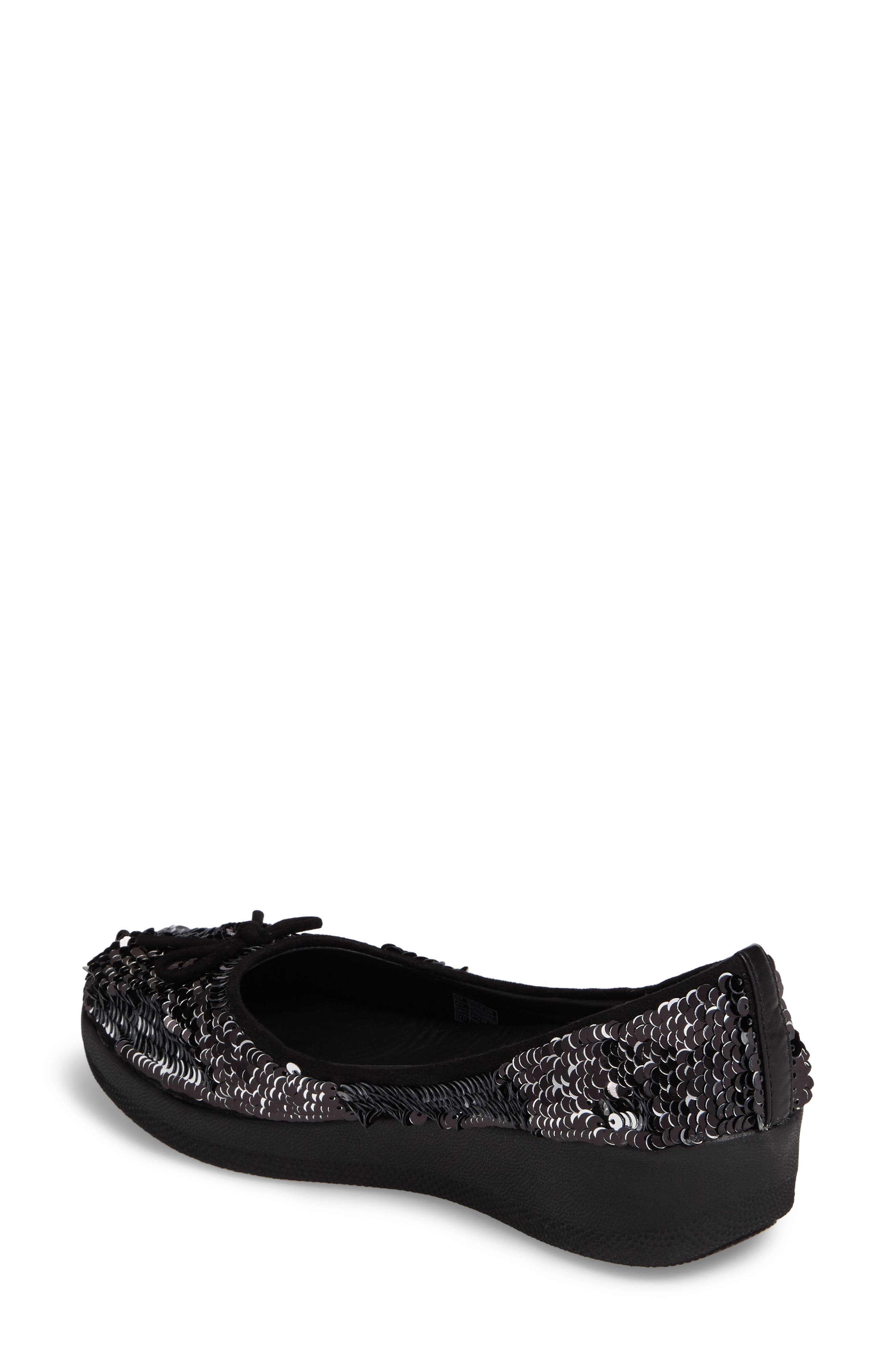Superballerina Sequin Ballet Flat,                             Alternate thumbnail 2, color,                             Black Fabric