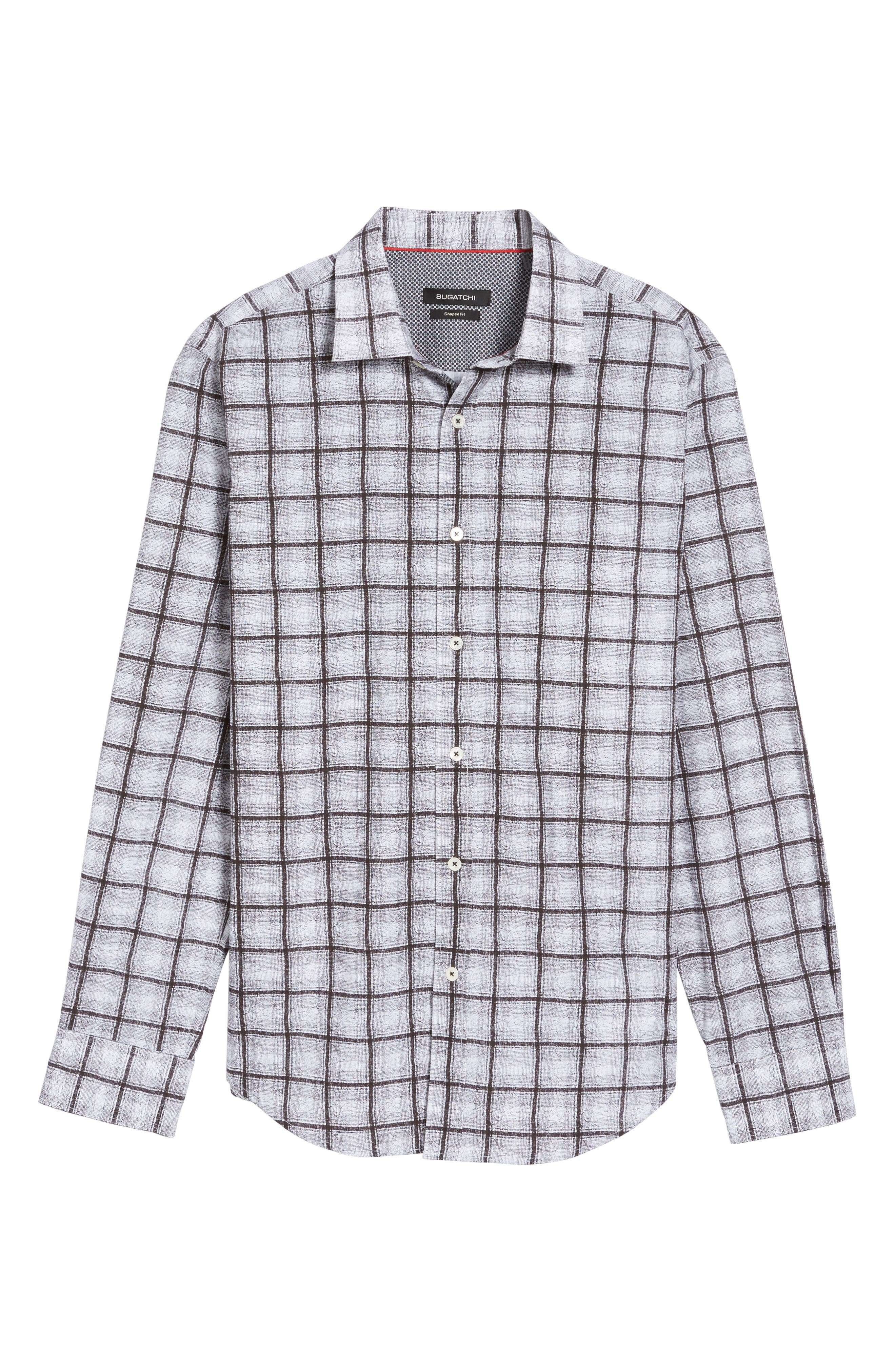 Shaped Fit Check Sport Shirt,                             Alternate thumbnail 6, color,                             Black
