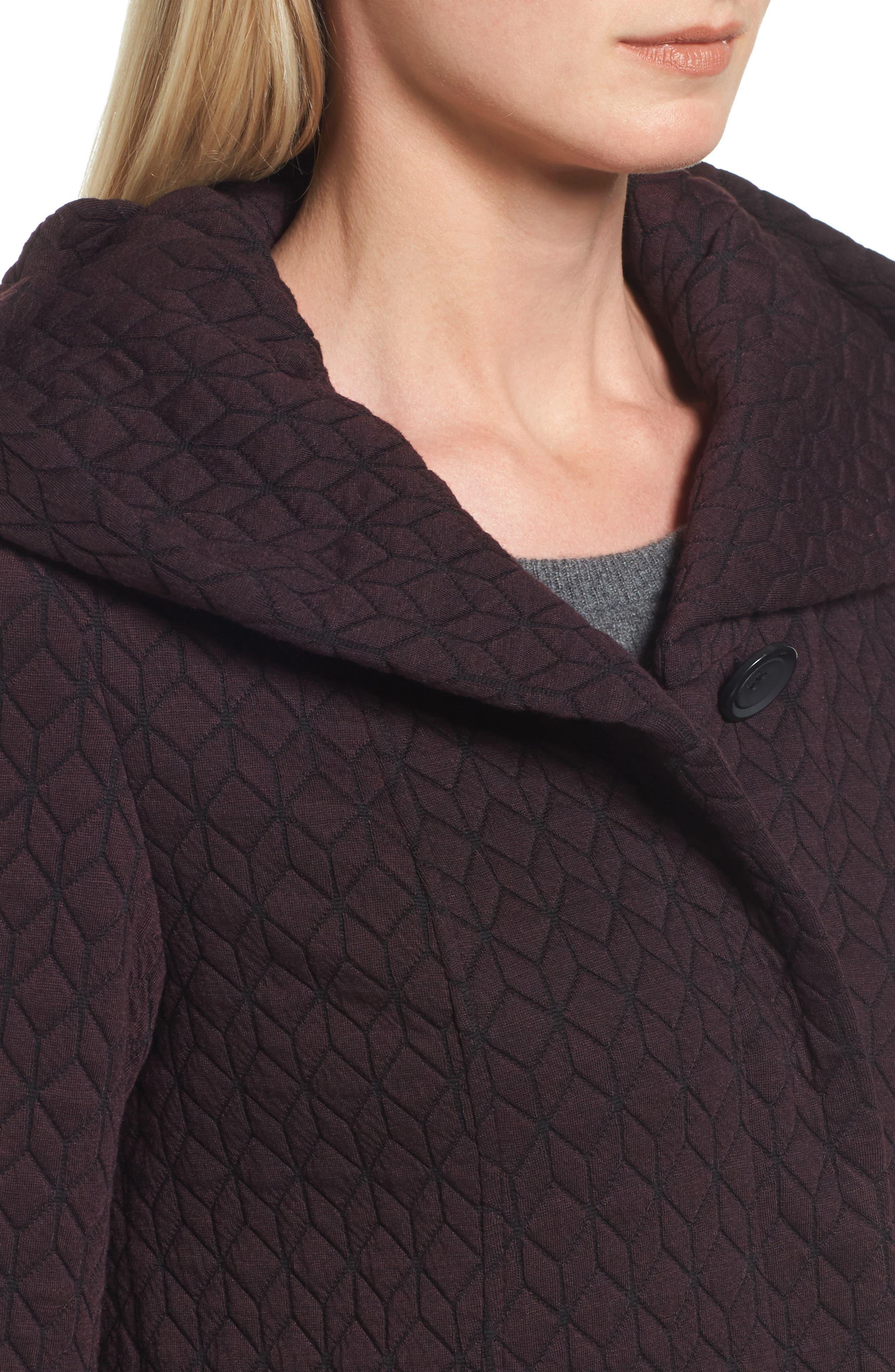 Cozy Knit Coat,                             Alternate thumbnail 4, color,                             Burgundy