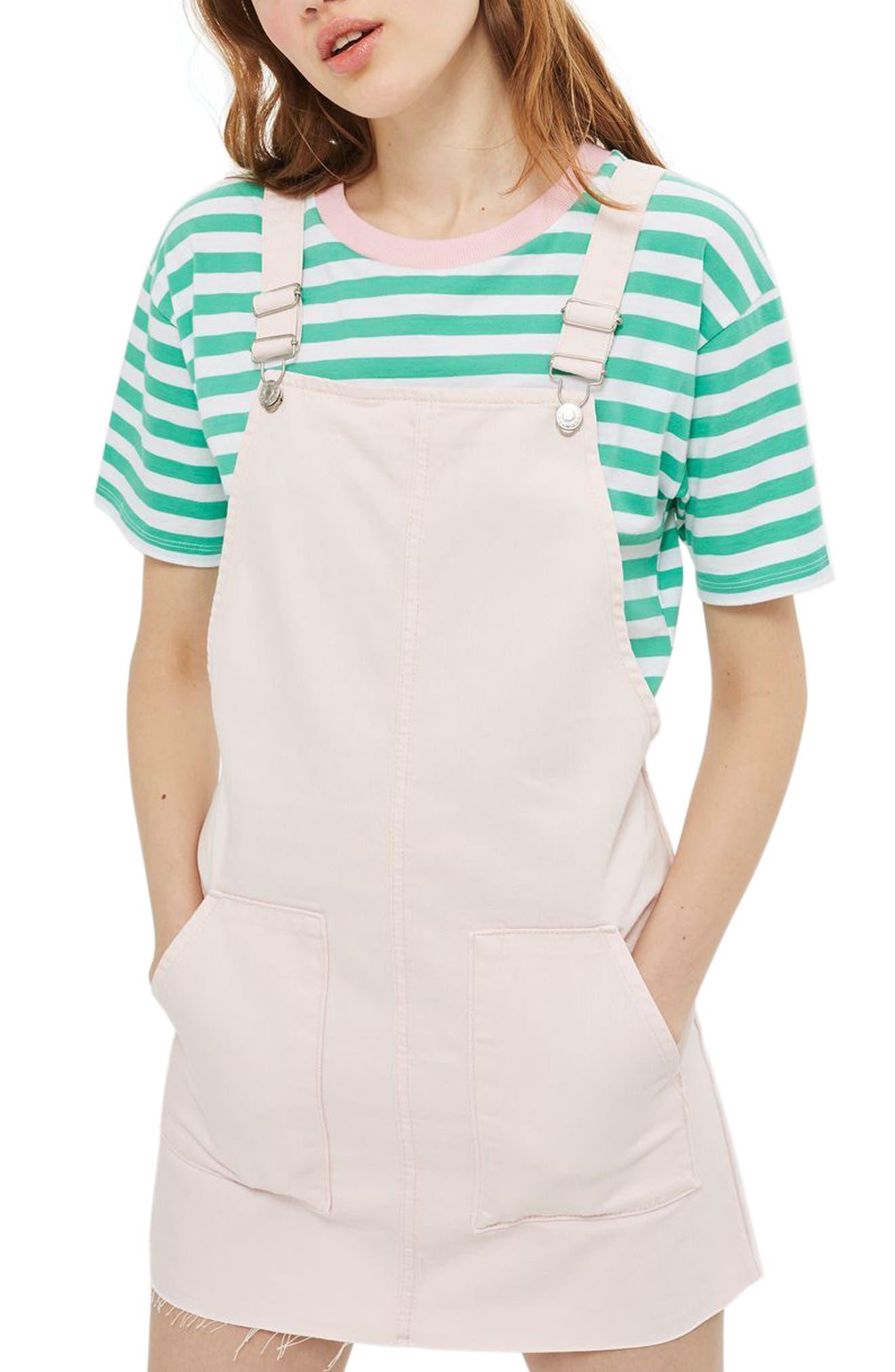 Main Image - Topshop Denim Pinafore Dress (Regular & Petite)