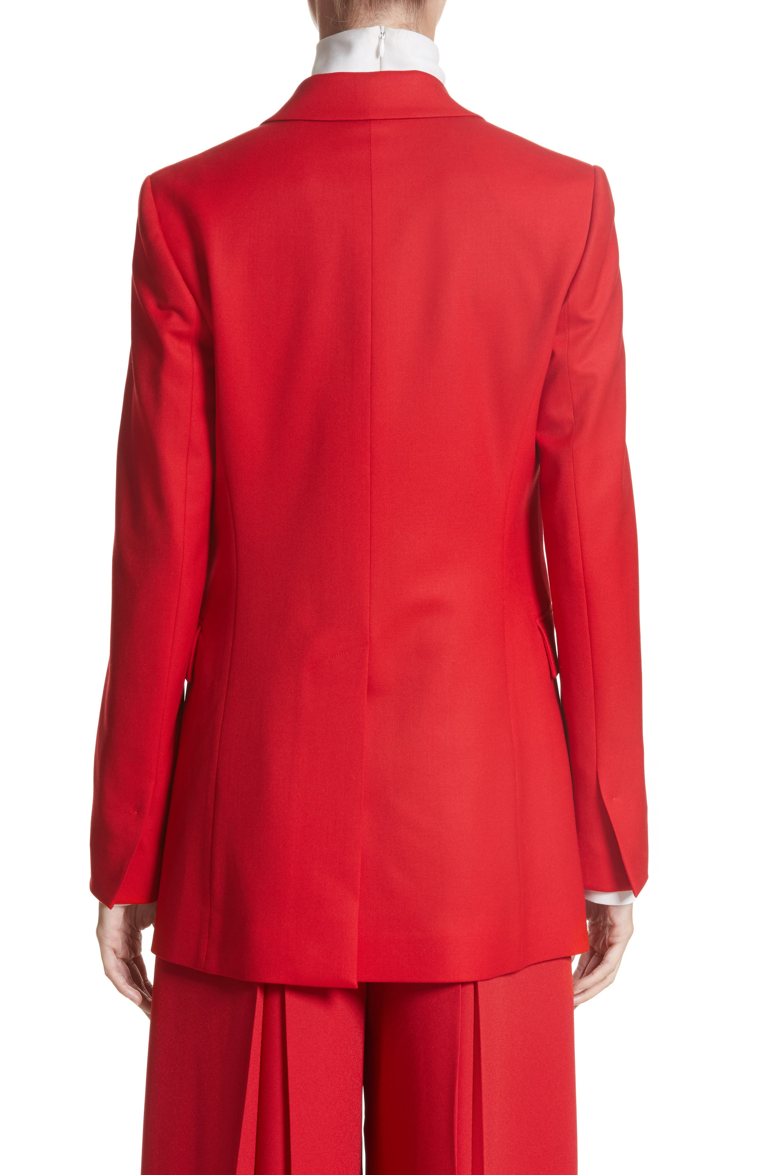 Stretch Wool Blazer,                             Alternate thumbnail 3, color,                             Red