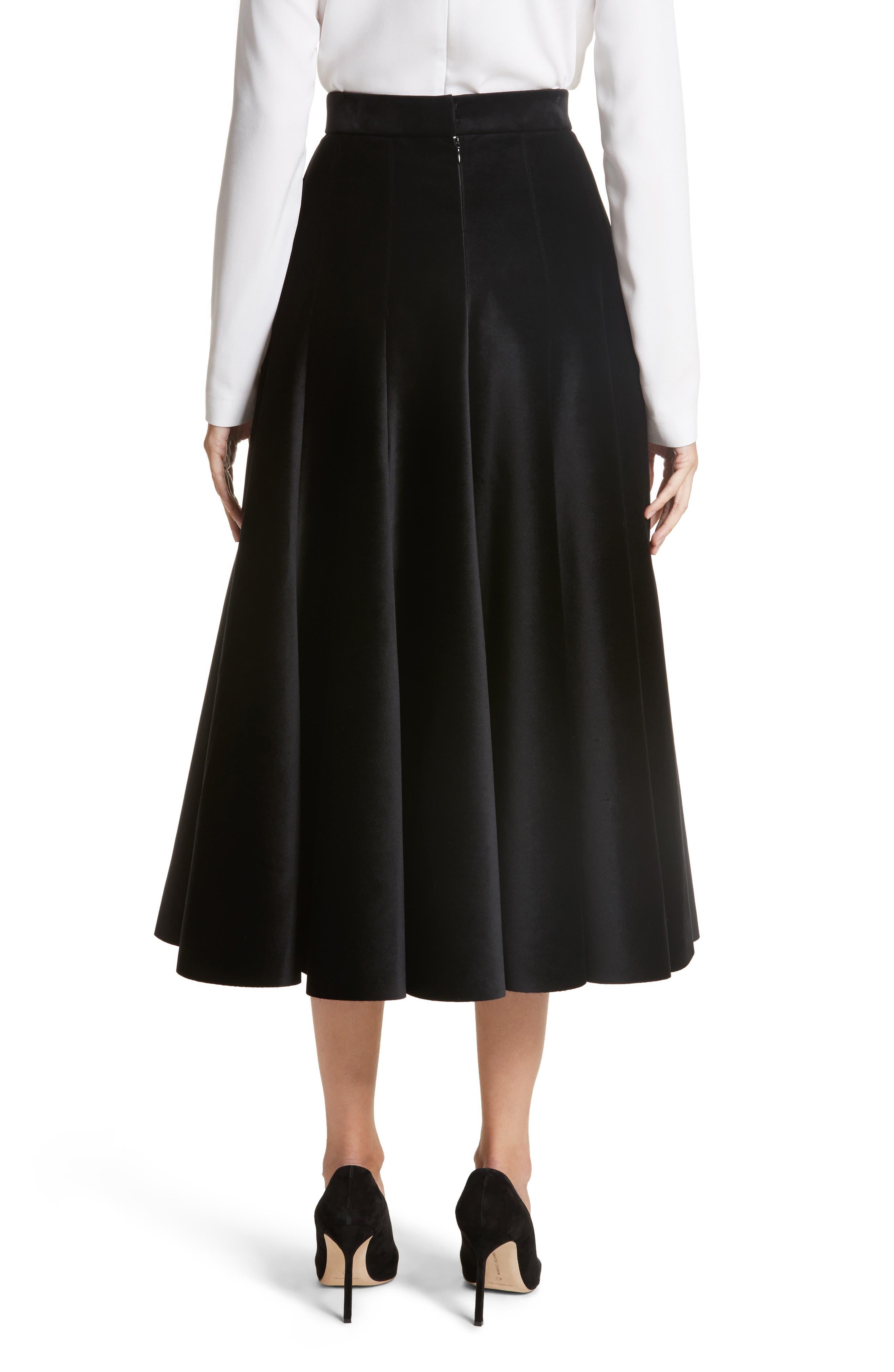 Velvet A-Line Midi Skirt,                             Alternate thumbnail 2, color,                             Black