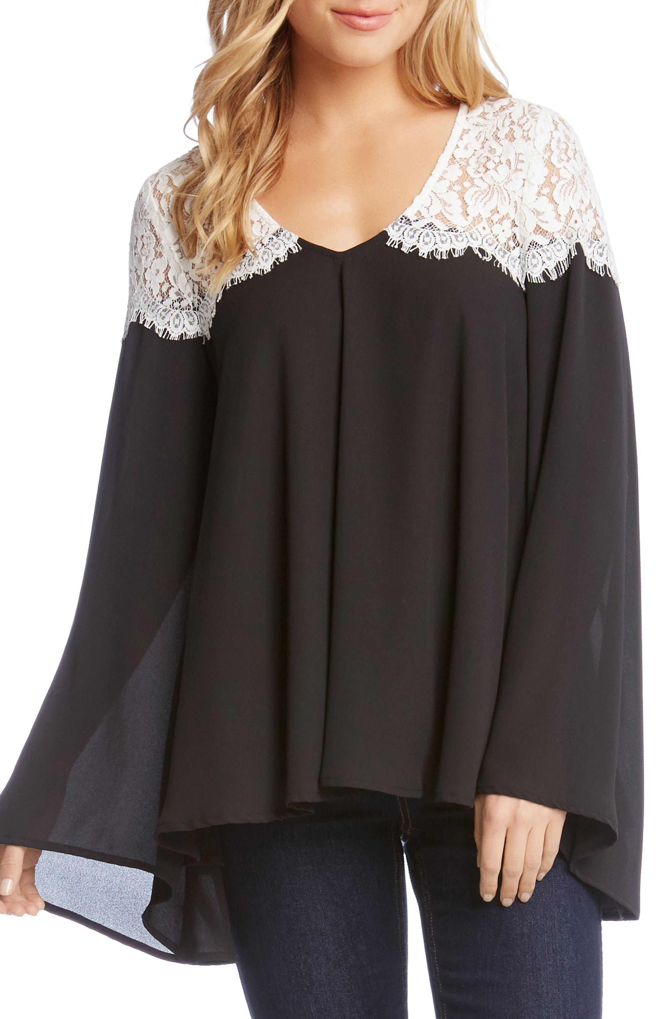 KAREN KANE Contrast Lace Bell Sleeve Top
