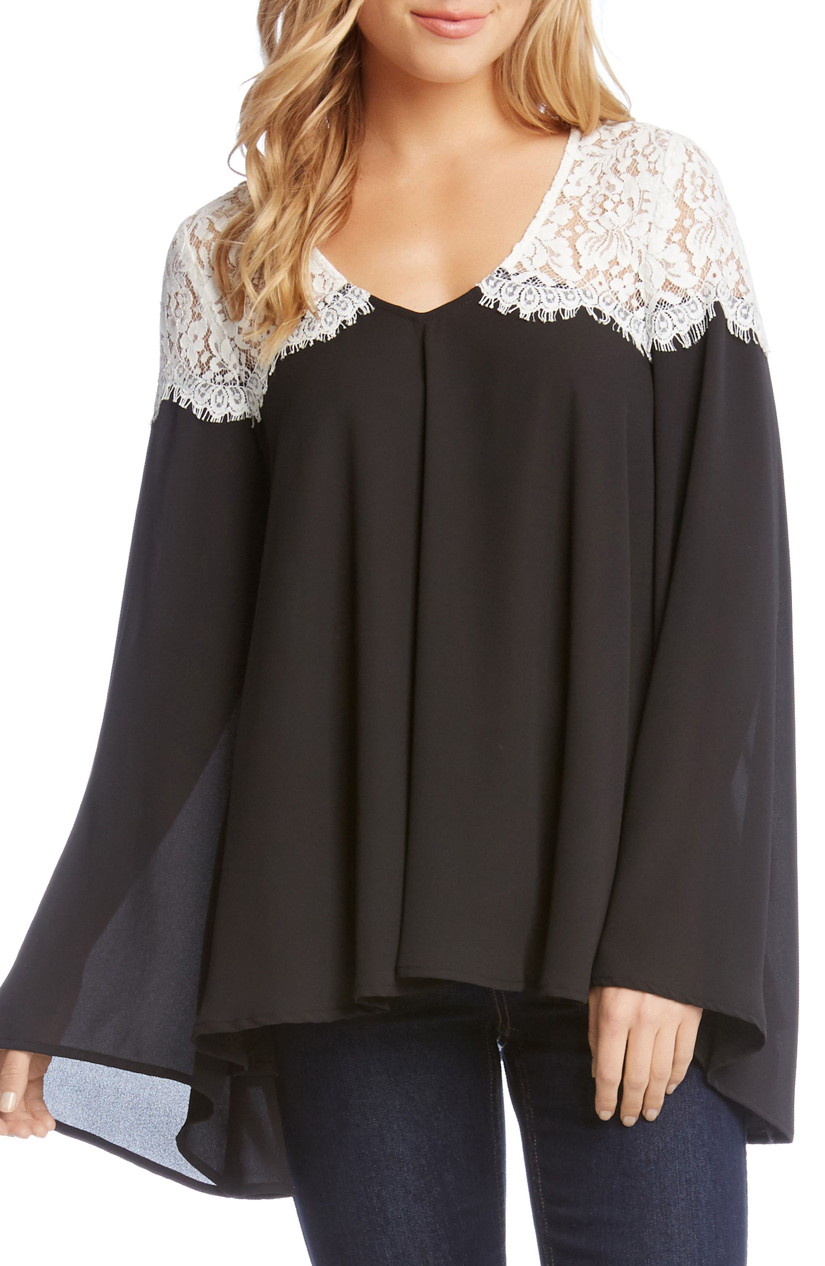 Contrast Lace Bell Sleeve Top,                         Main,                         color, Black/ Off White