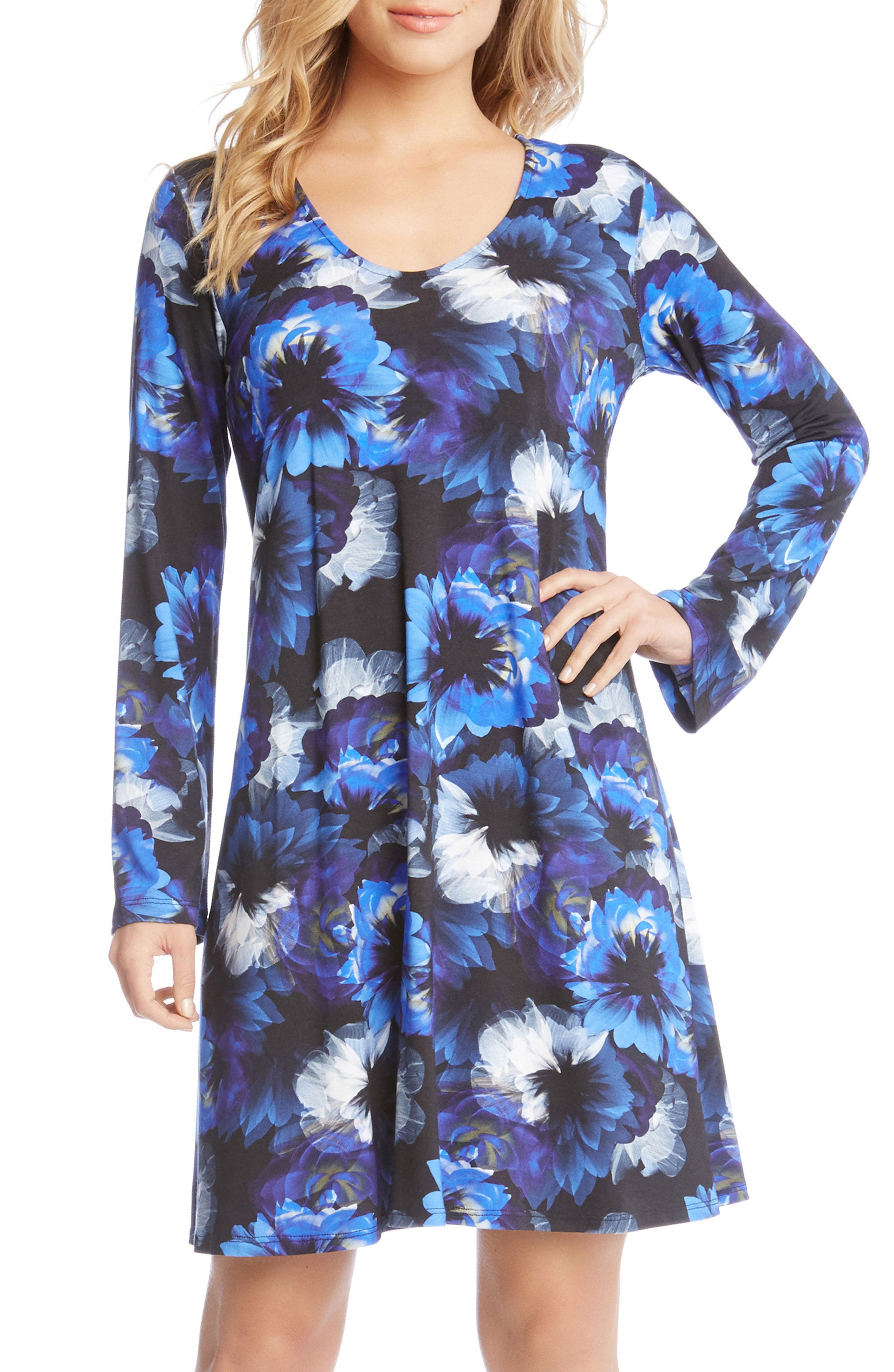Taylor Midnight Floral Print A-Line Dress,                         Main,                         color, Sapphire Blue