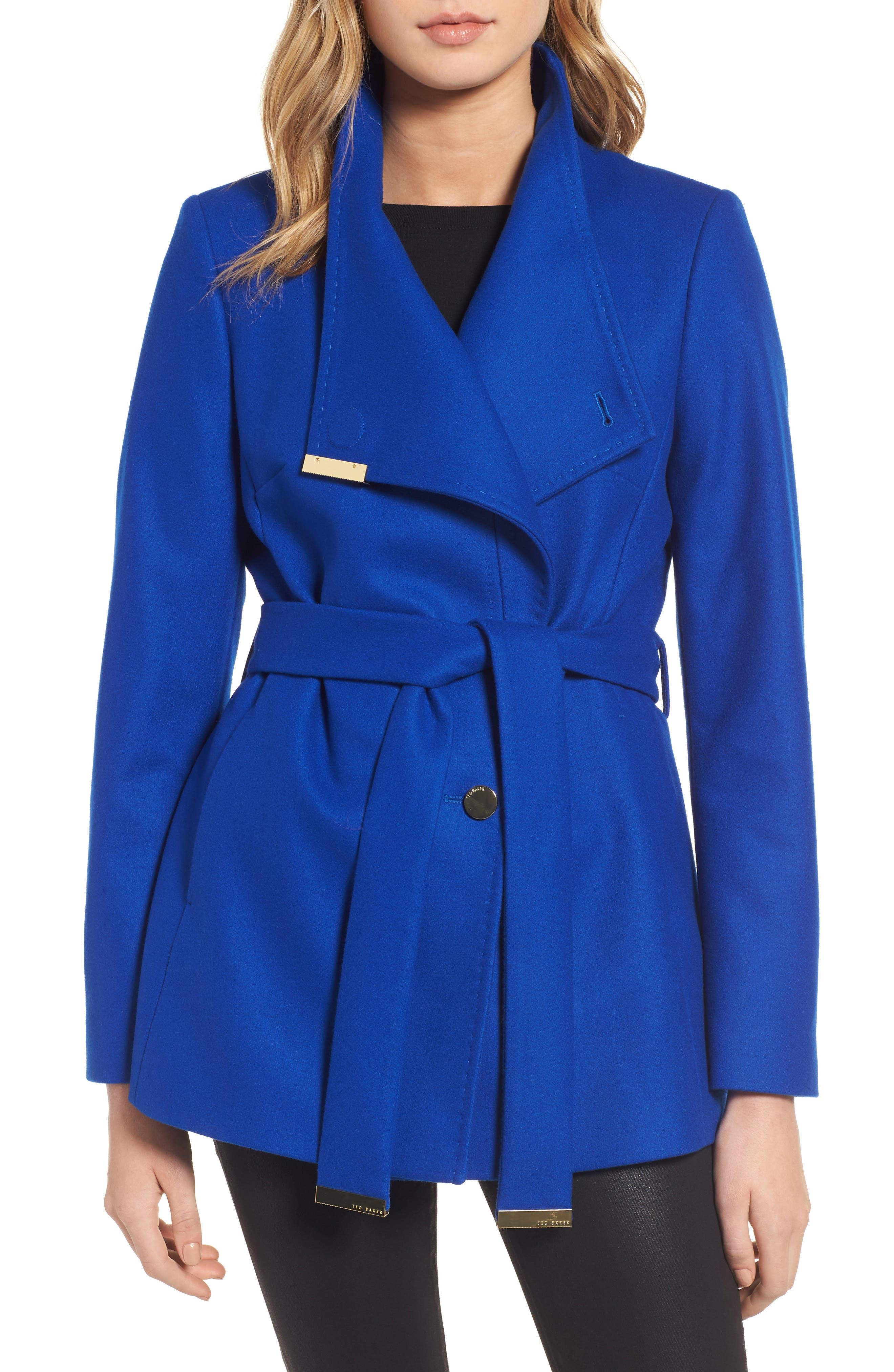 Wool Blend Short Wrap Coat,                         Main,                         color, Bright Blue
