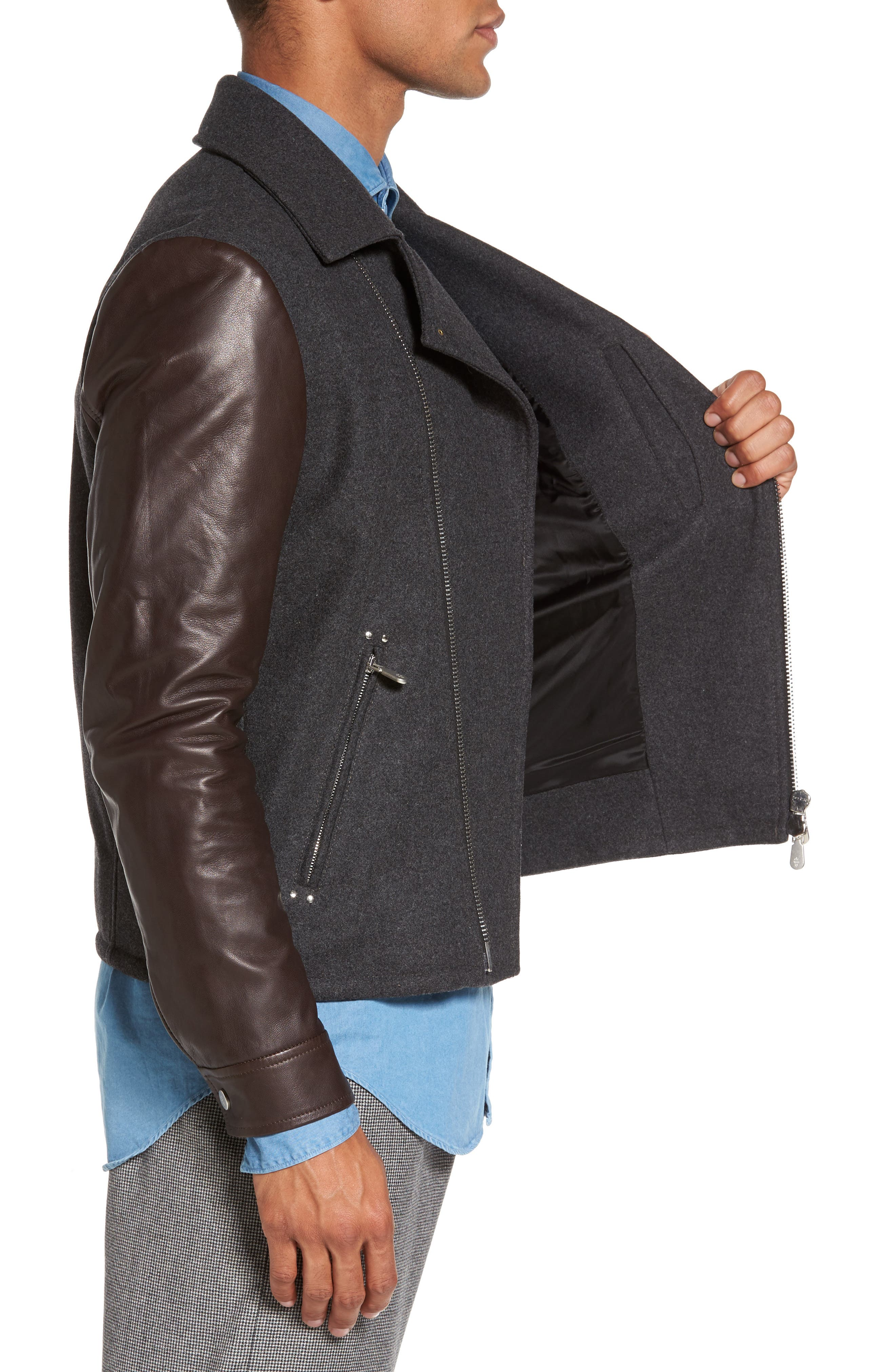 Leather & Flannel Moto Jacket,                             Alternate thumbnail 4, color,                             Charcoal/ Brown