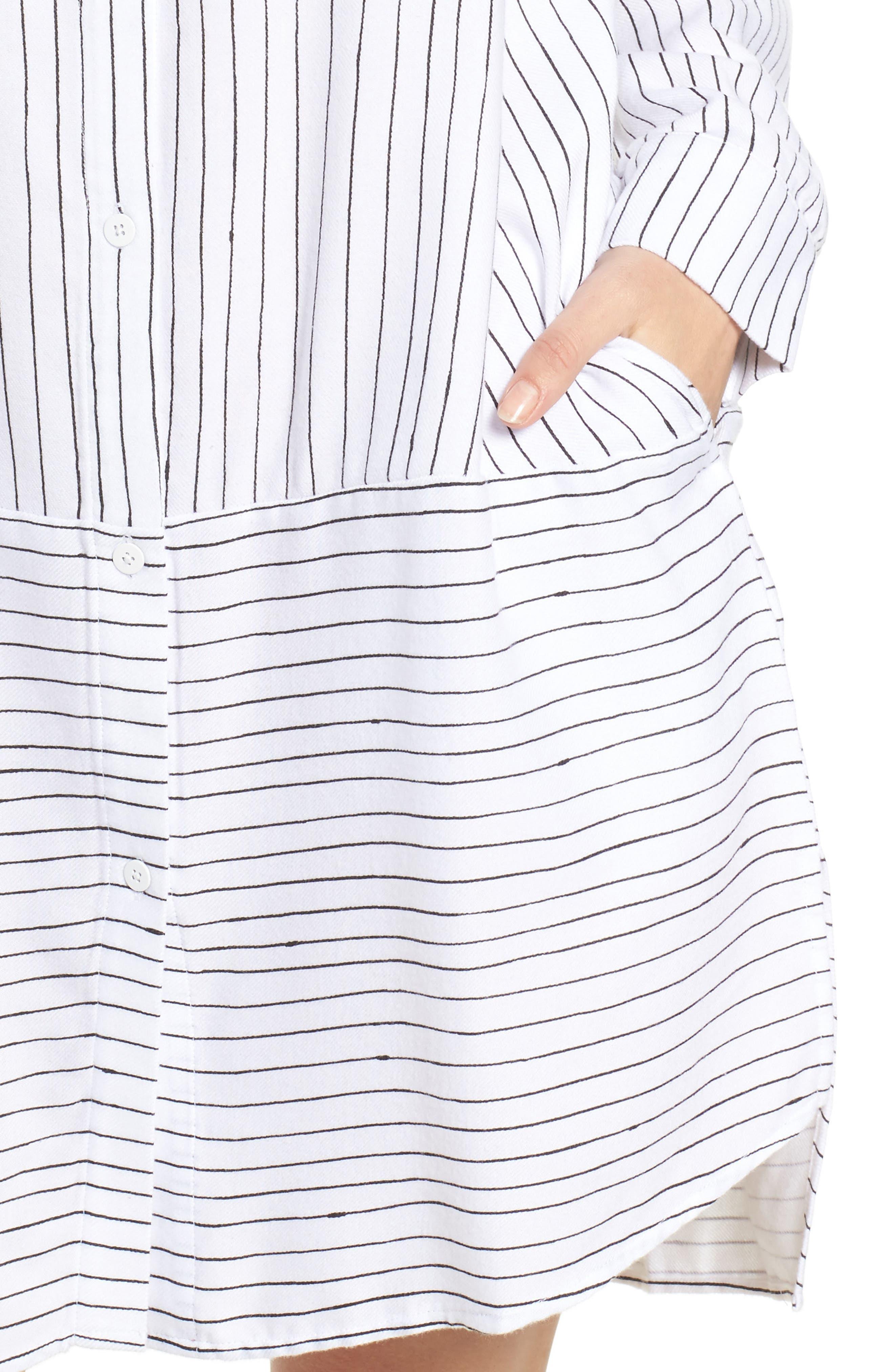 Stripe Sleep Shirt,                             Alternate thumbnail 5, color,                             White Stripe Print