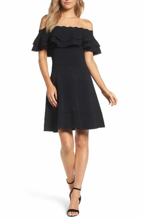 3c86e40a33a Eliza J Off the Shoulder Fit   Flare Dress (Regular   Petite)