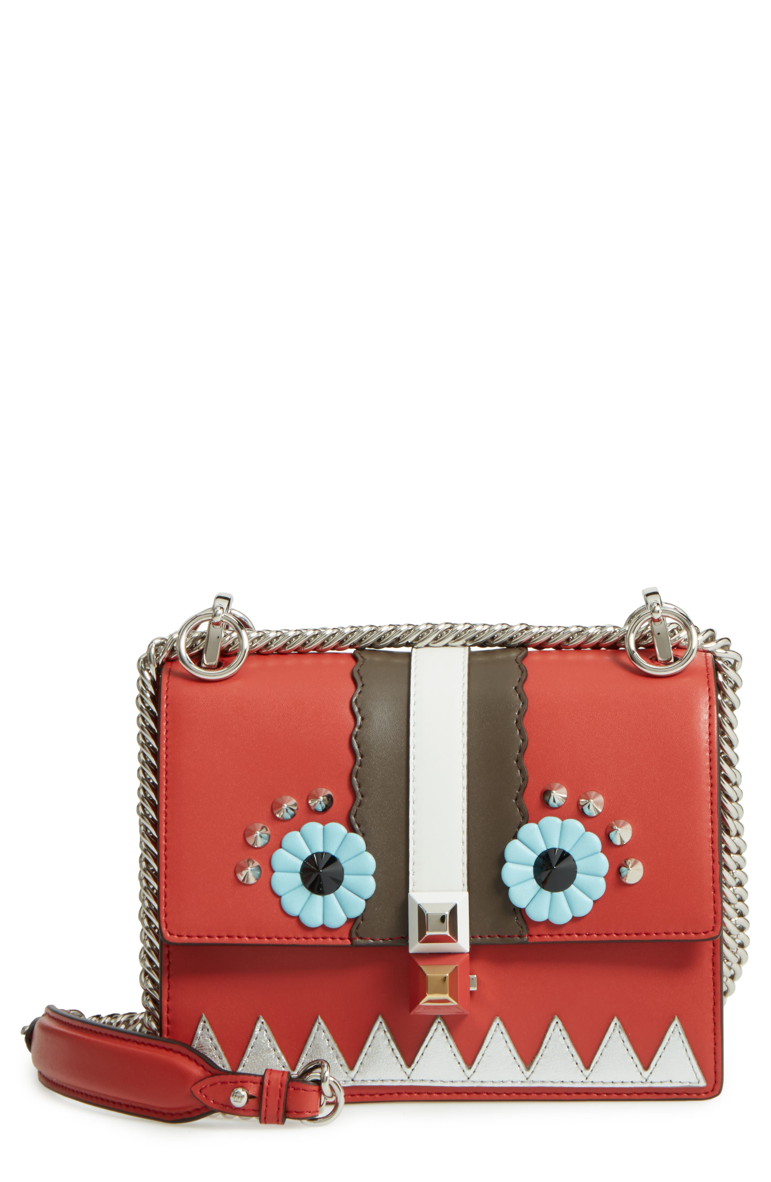 Fendi Mini Kan I Faces Leather Shoulder Bag