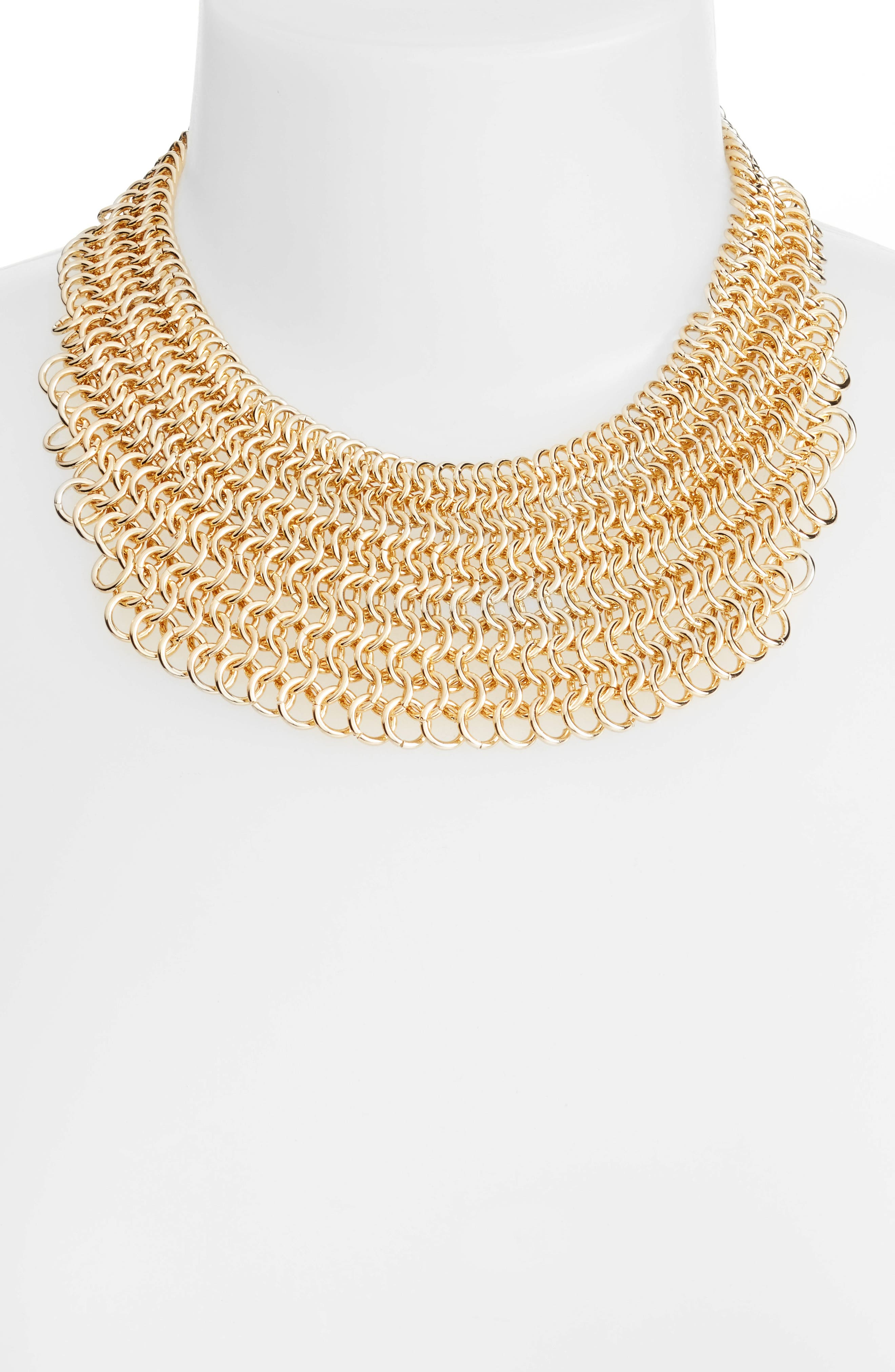 Linked Circle Statement Bib Necklace,                             Alternate thumbnail 2, color,                             Gold