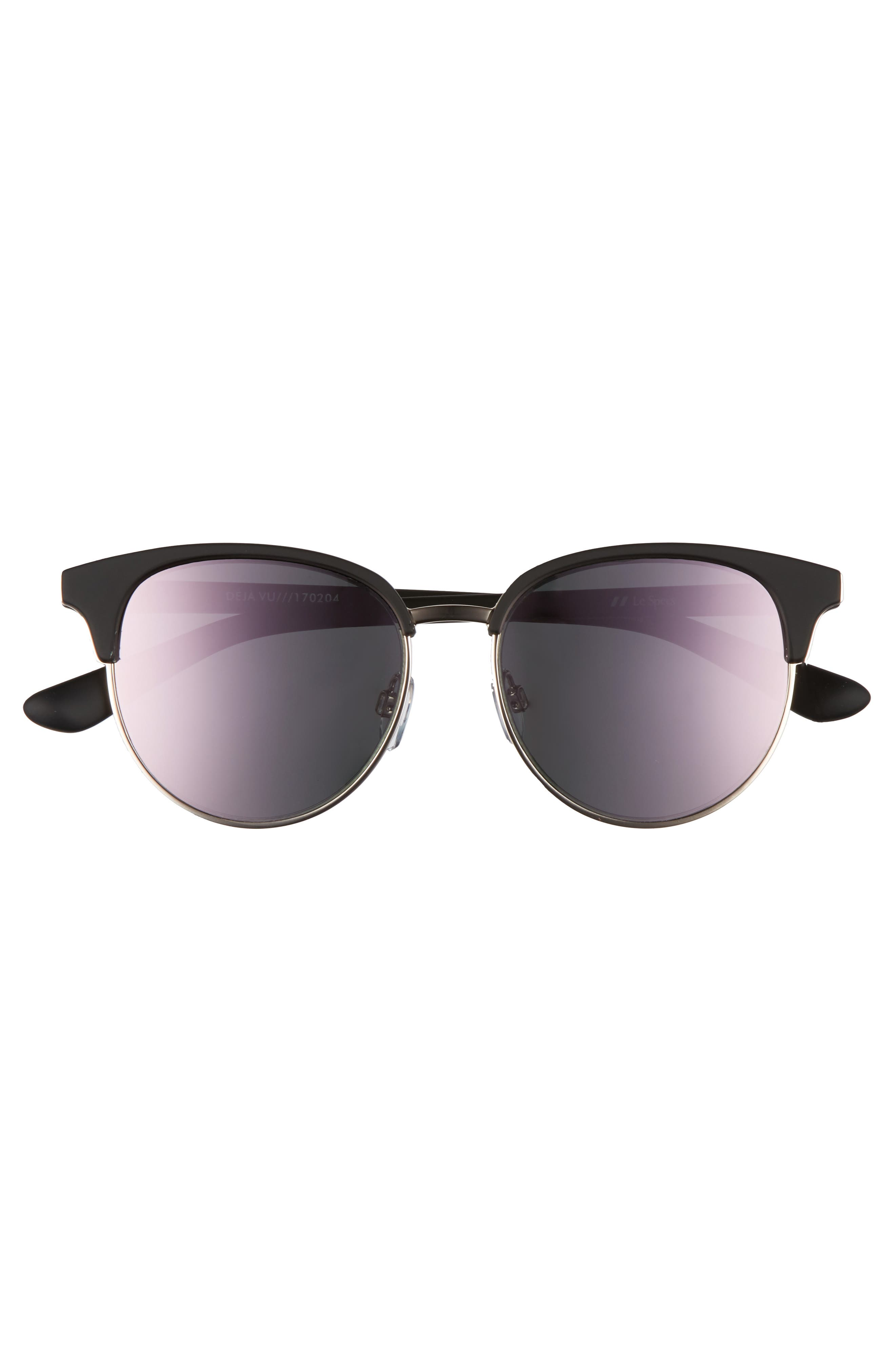 Deja Vu 51mm Round Sunglasses,                             Alternate thumbnail 3, color,                             Black Rubber