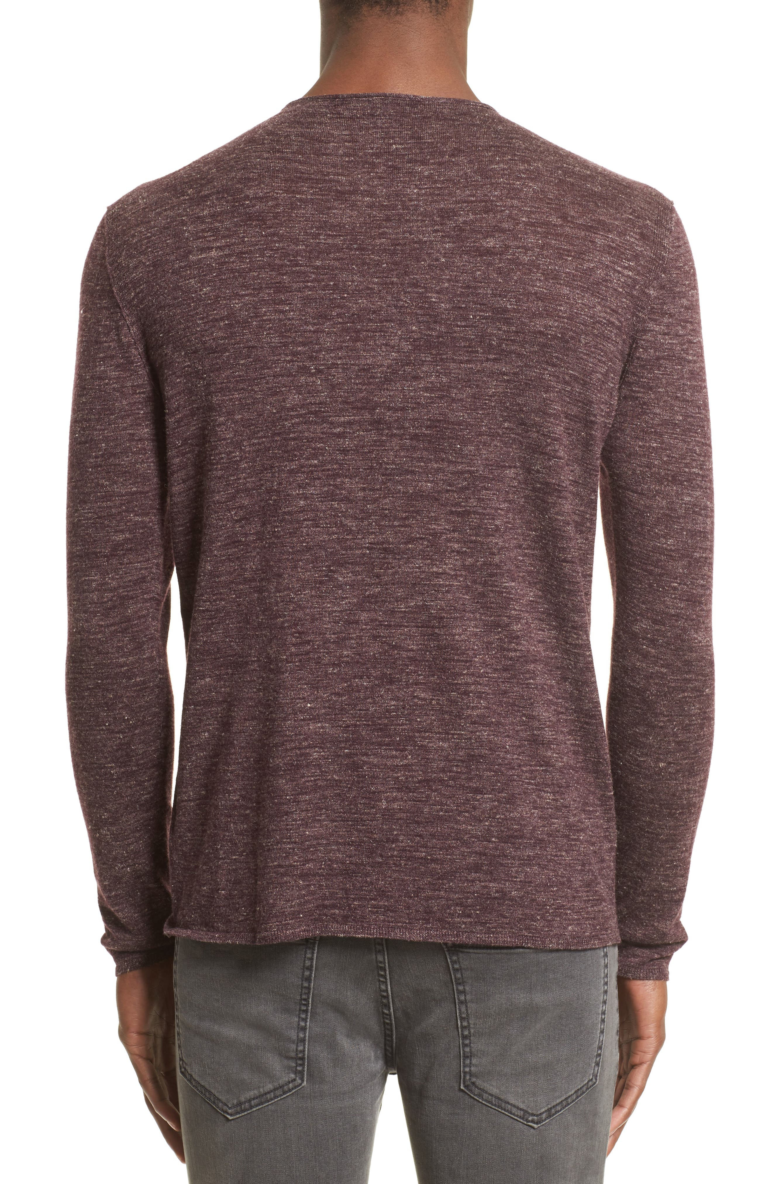 Heathered Crewneck Sweater,                             Alternate thumbnail 2, color,                             Oxblood