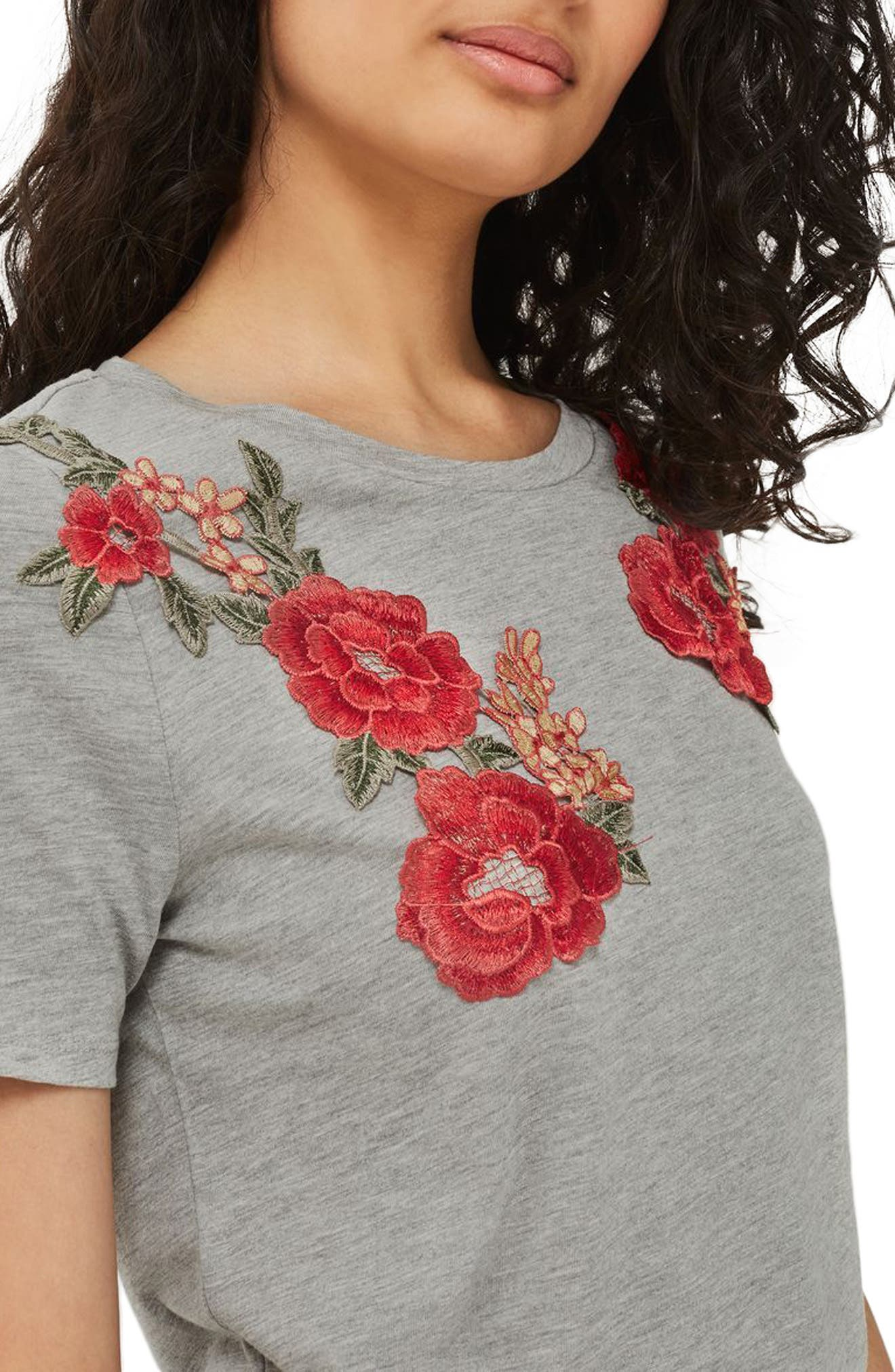 Alternate Image 1 Selected - Topshop Floral Appliqué Tee