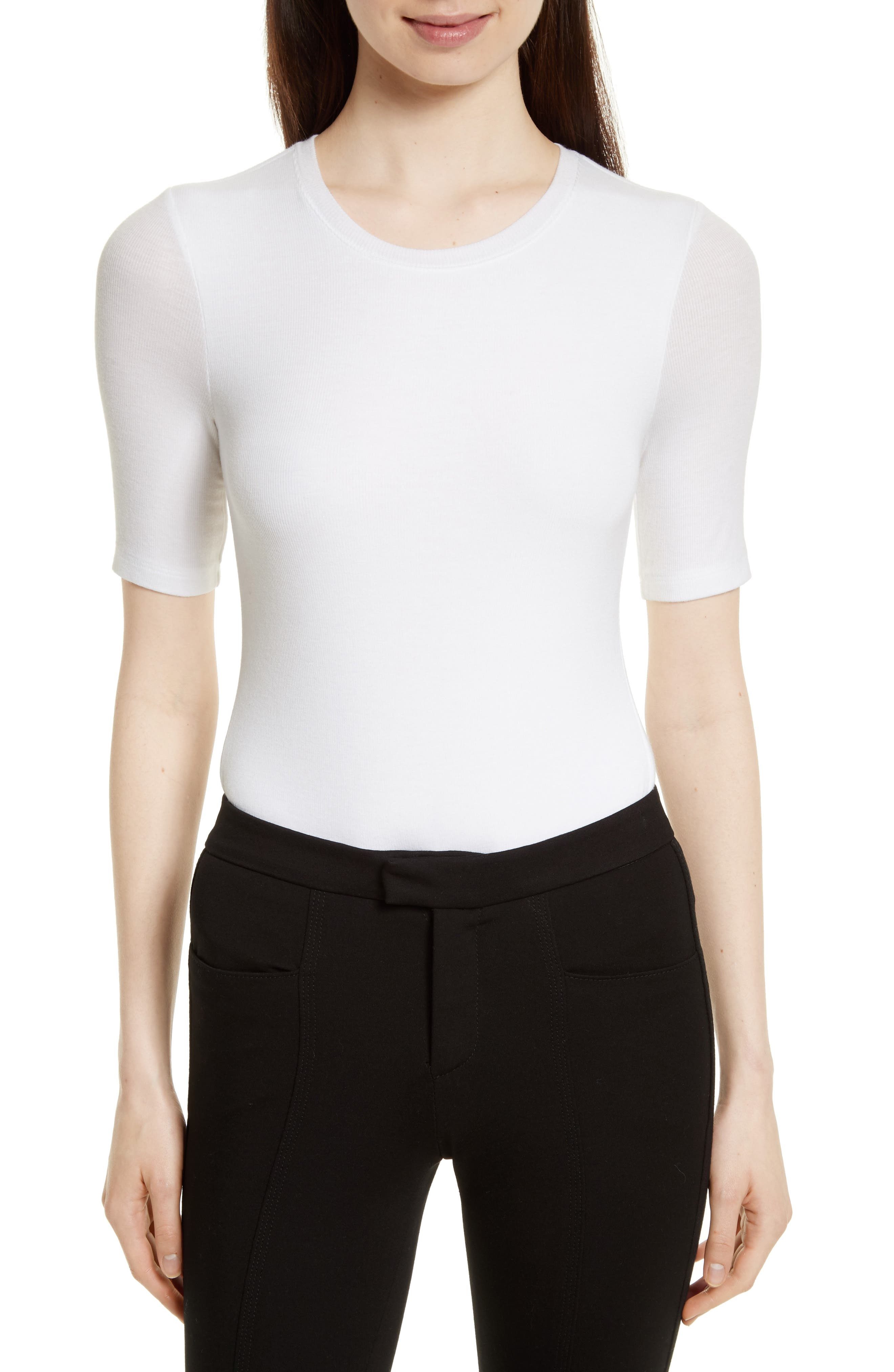 Ribbed Bodysuit,                         Main,                         color, White