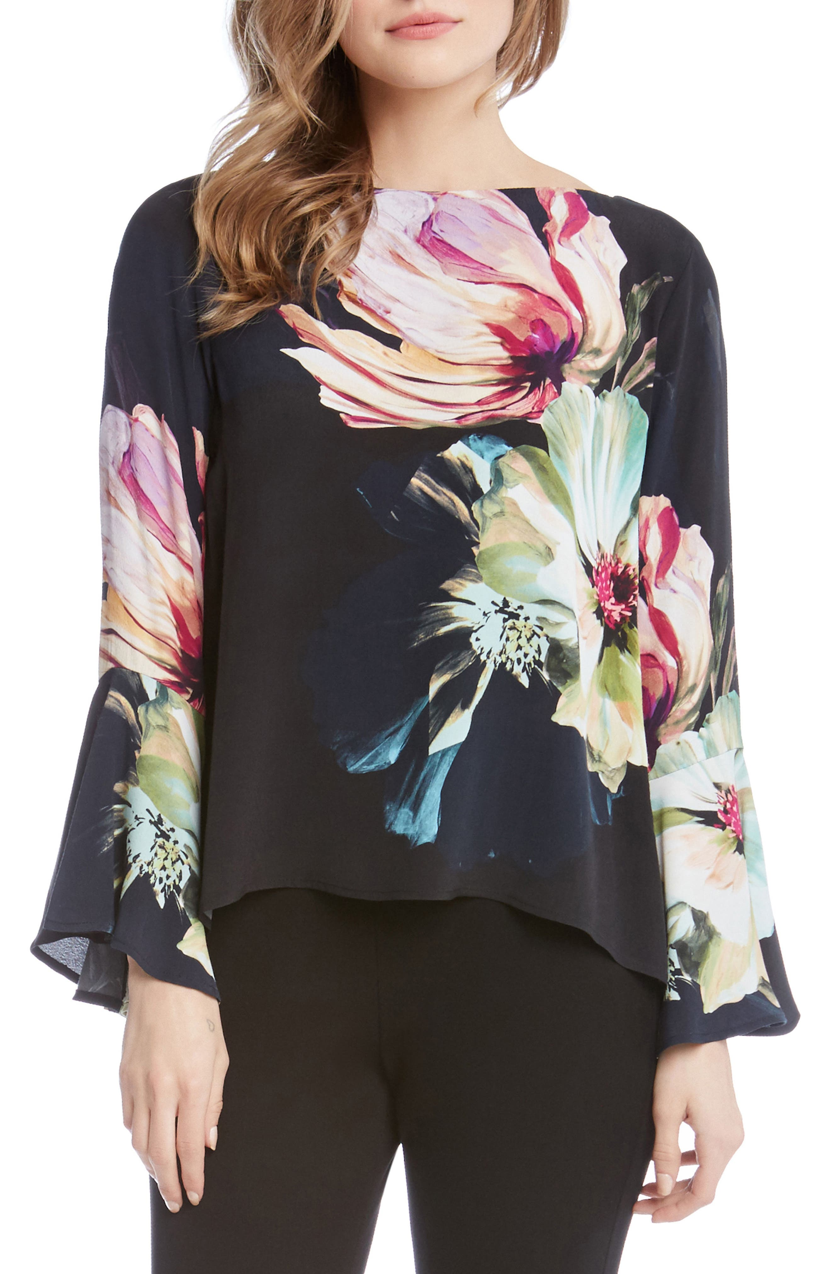 Karen Kane Bell Sleeve Floral Top