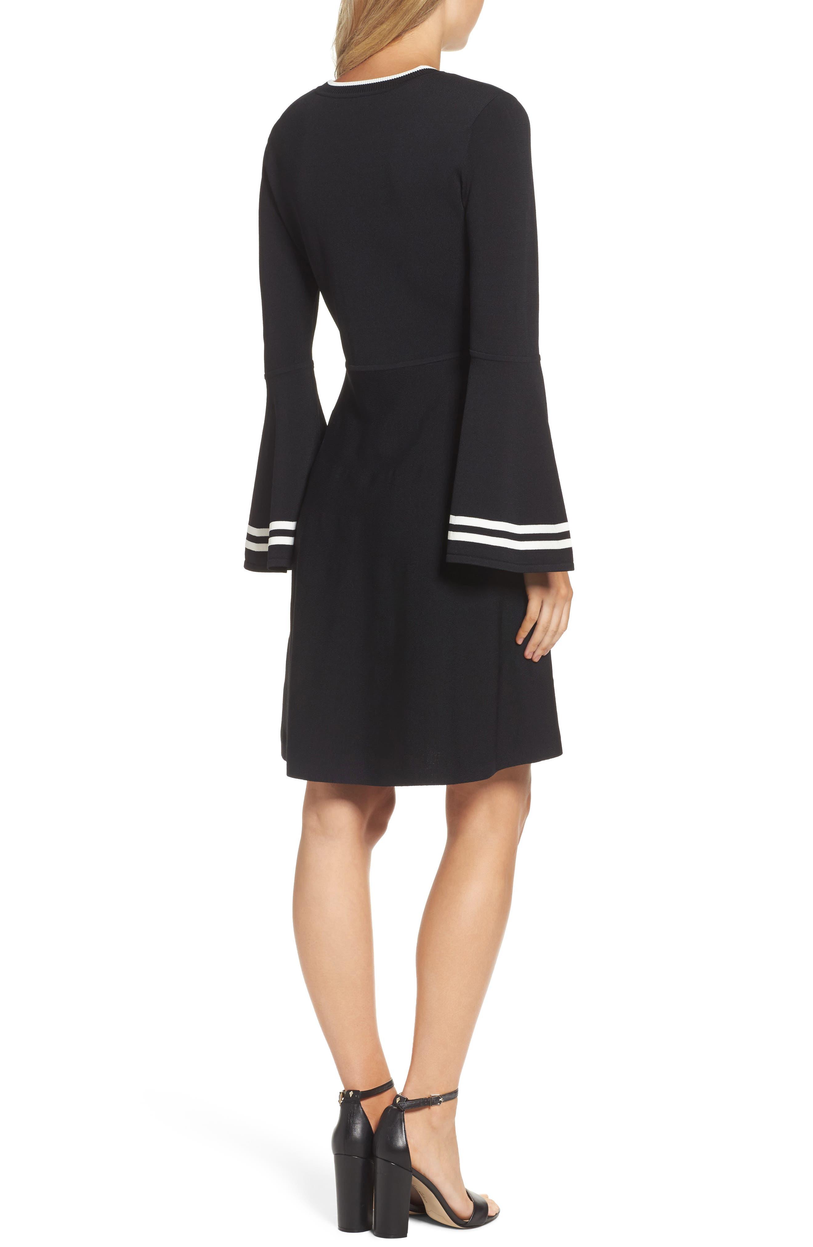 Bell Sleeve Fit & Flare Dress,                             Alternate thumbnail 2, color,                             Black/ Ivory