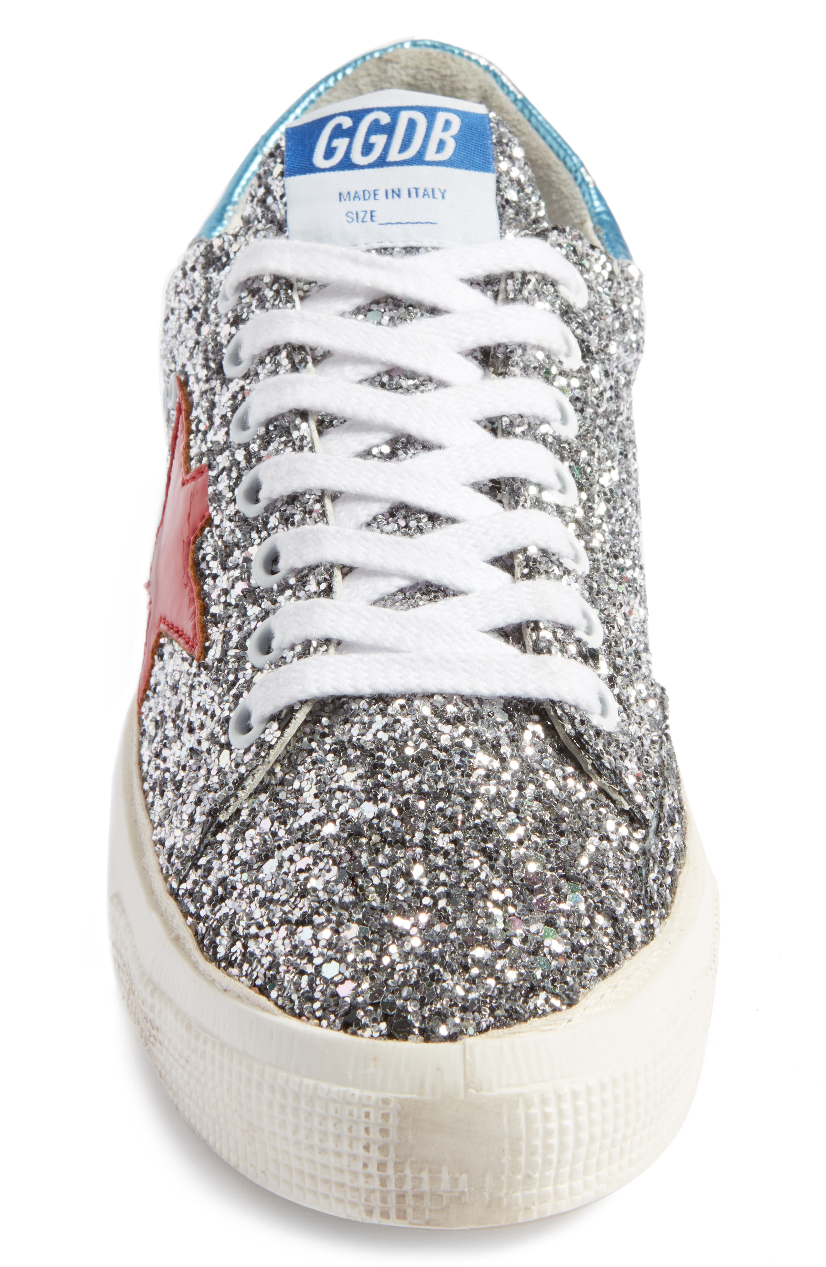 May Sneaker,                             Alternate thumbnail 4, color,                             Silver Glitter/ Red