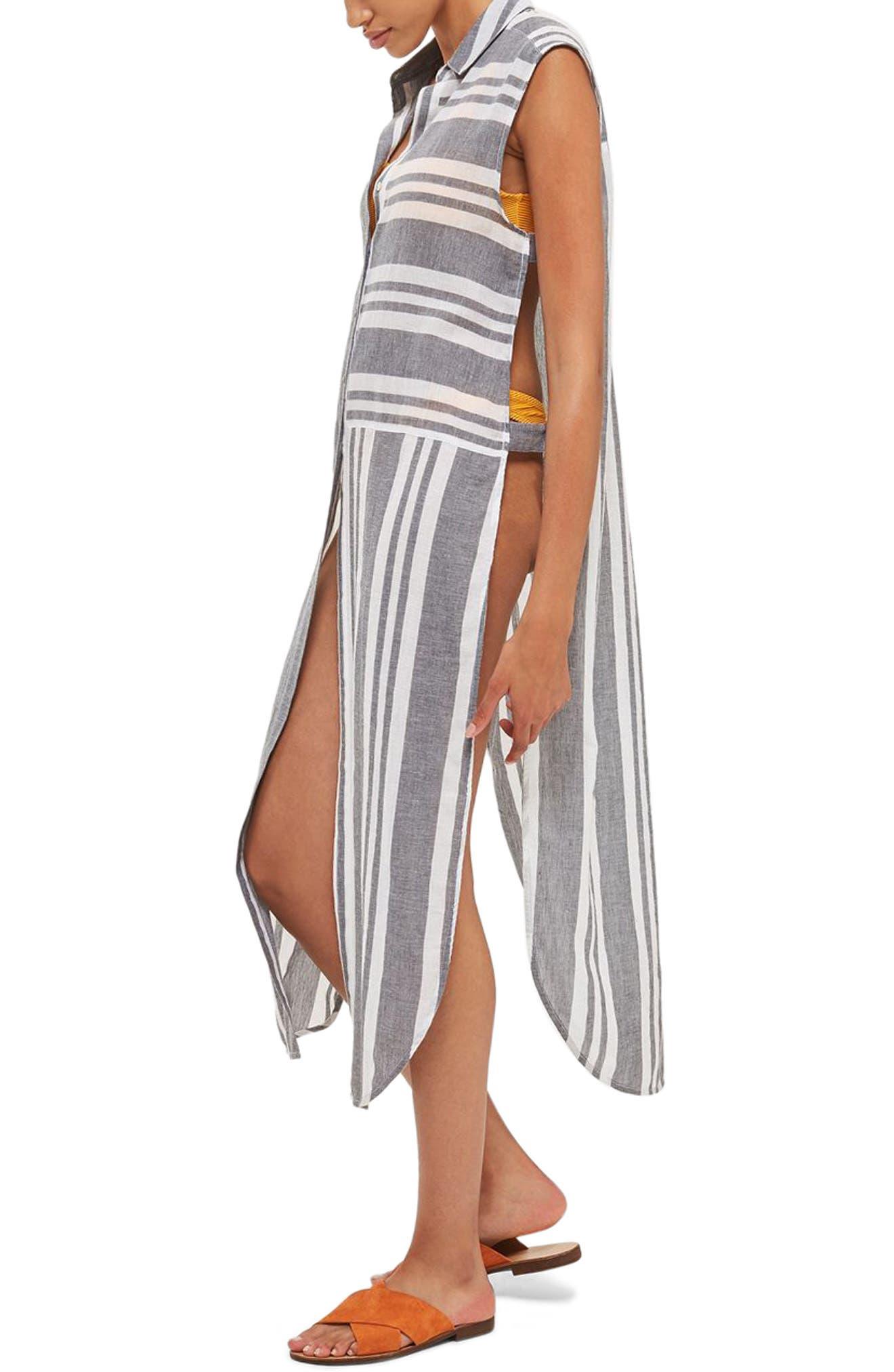 TOPSHOP Mixed Stripe Maxi Shirtdress