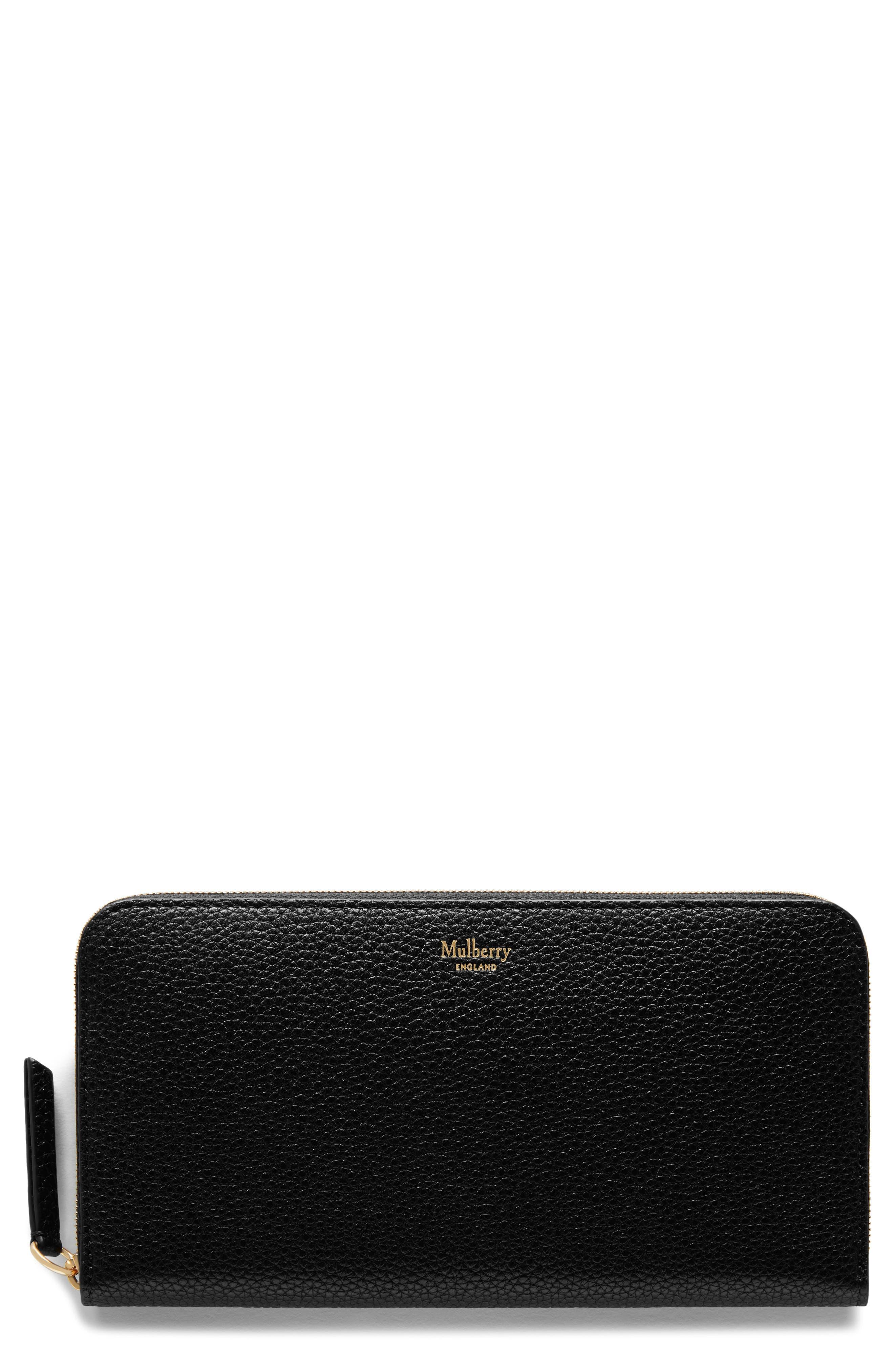 Zip Around Leather Wallet,                         Main,                         color, Black